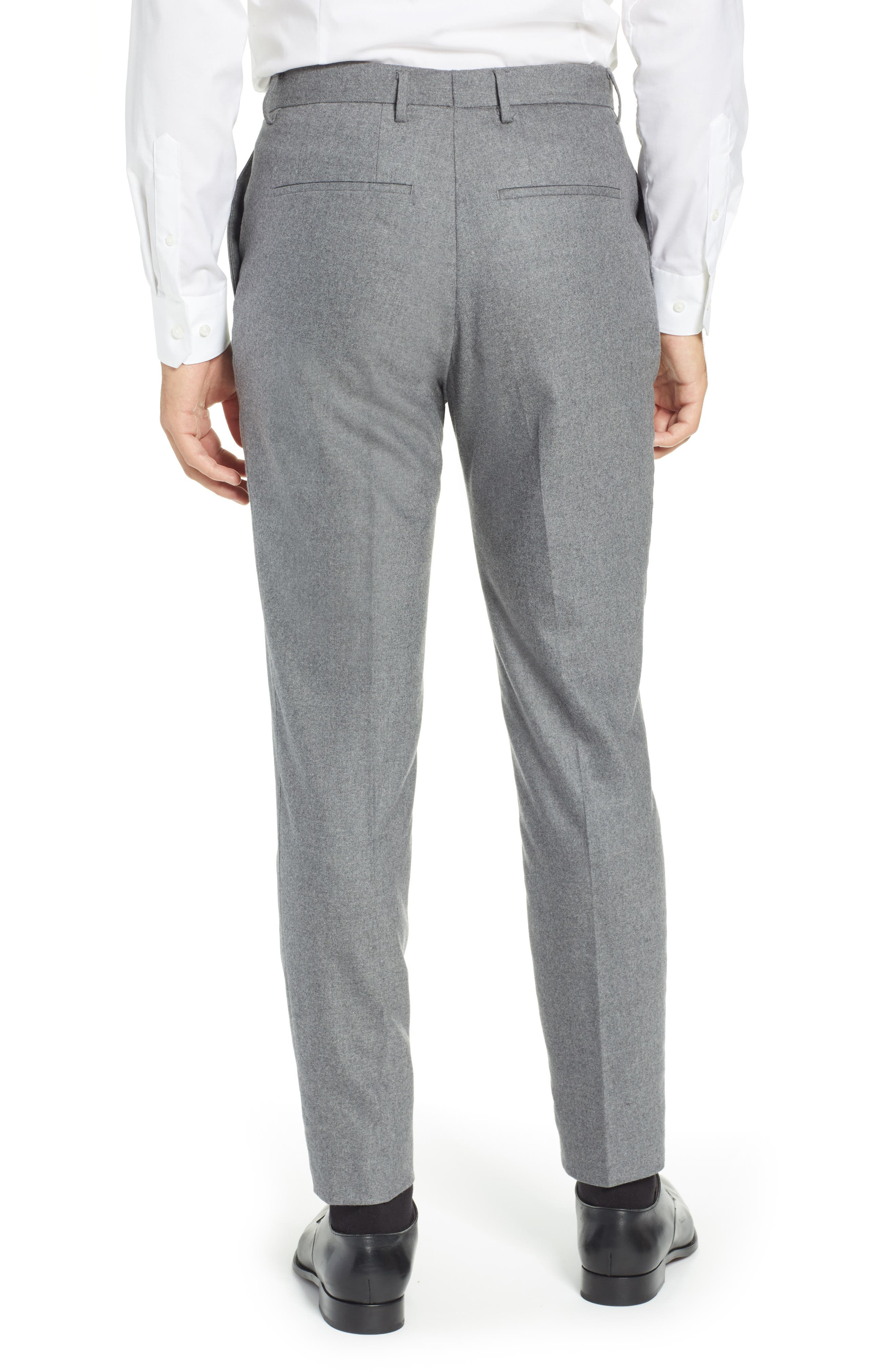 Pirko Flat Front Solid Stretch Wool Trousers,                             Alternate thumbnail 2, color,                             MEDIUM GREY
