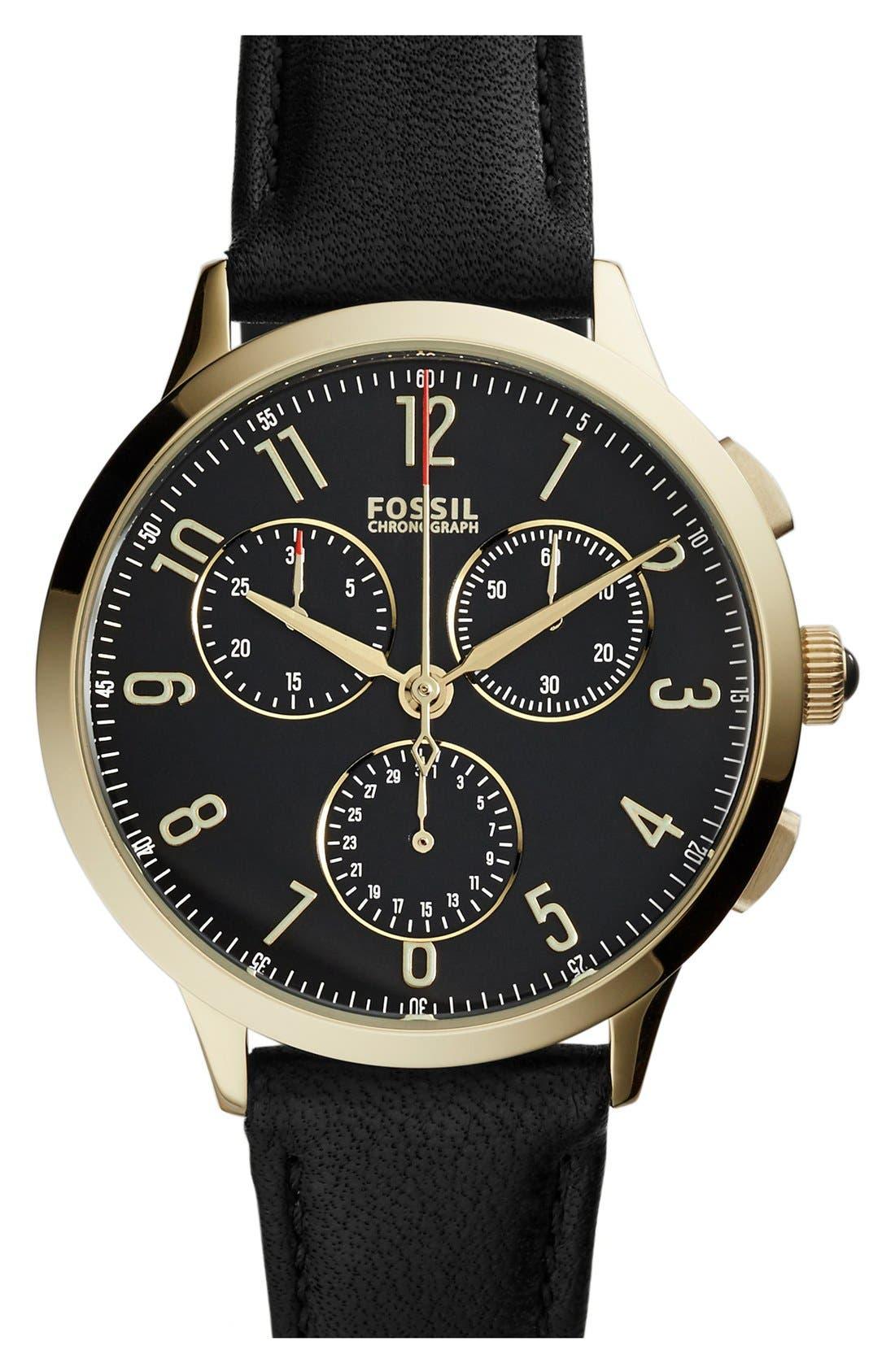 'Abilene' Chronograph Leather Strap Watch, 34mm,                             Main thumbnail 1, color,                             001