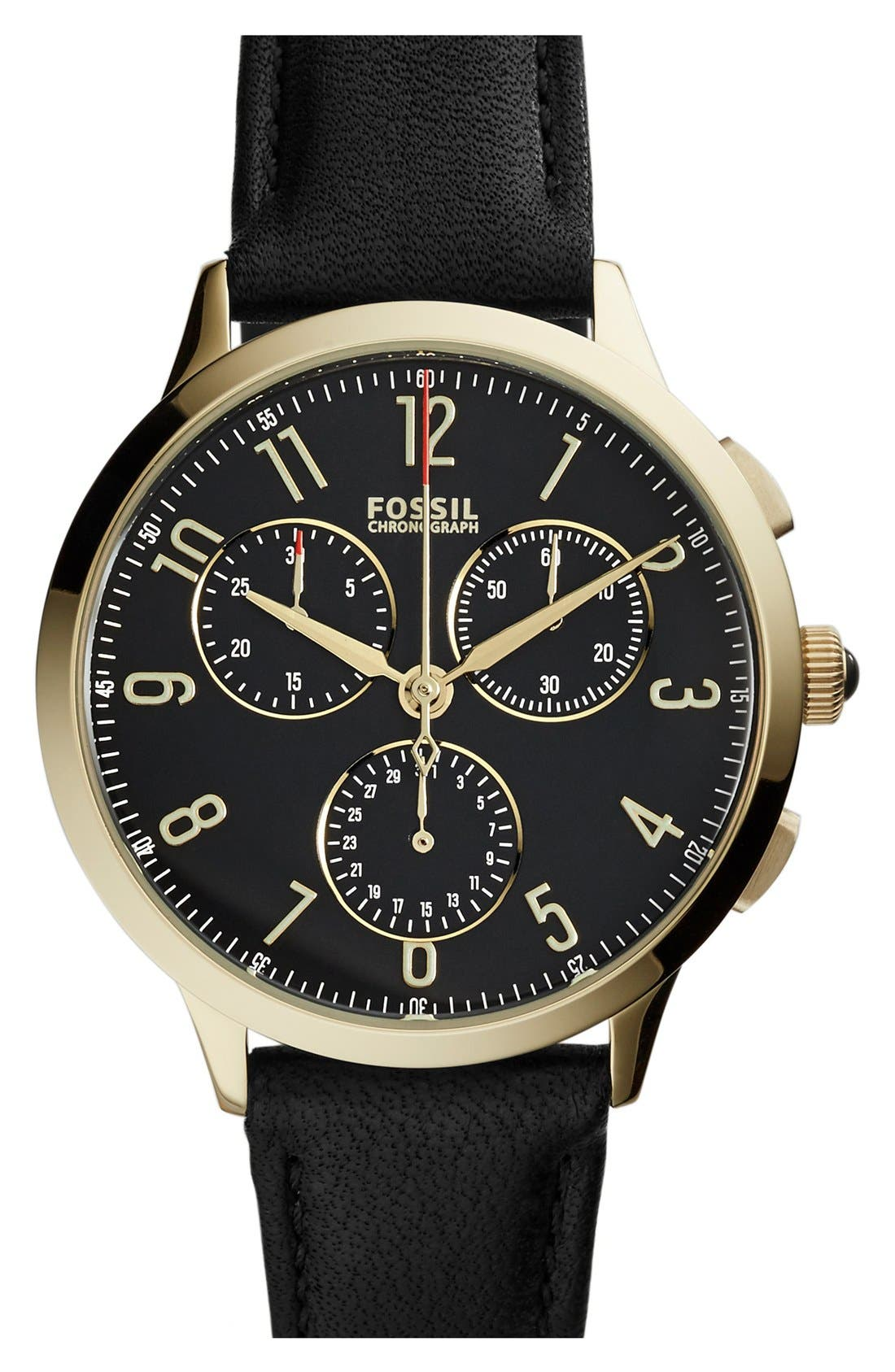 'Abilene' Chronograph Leather Strap Watch, 34mm,                         Main,                         color, 001