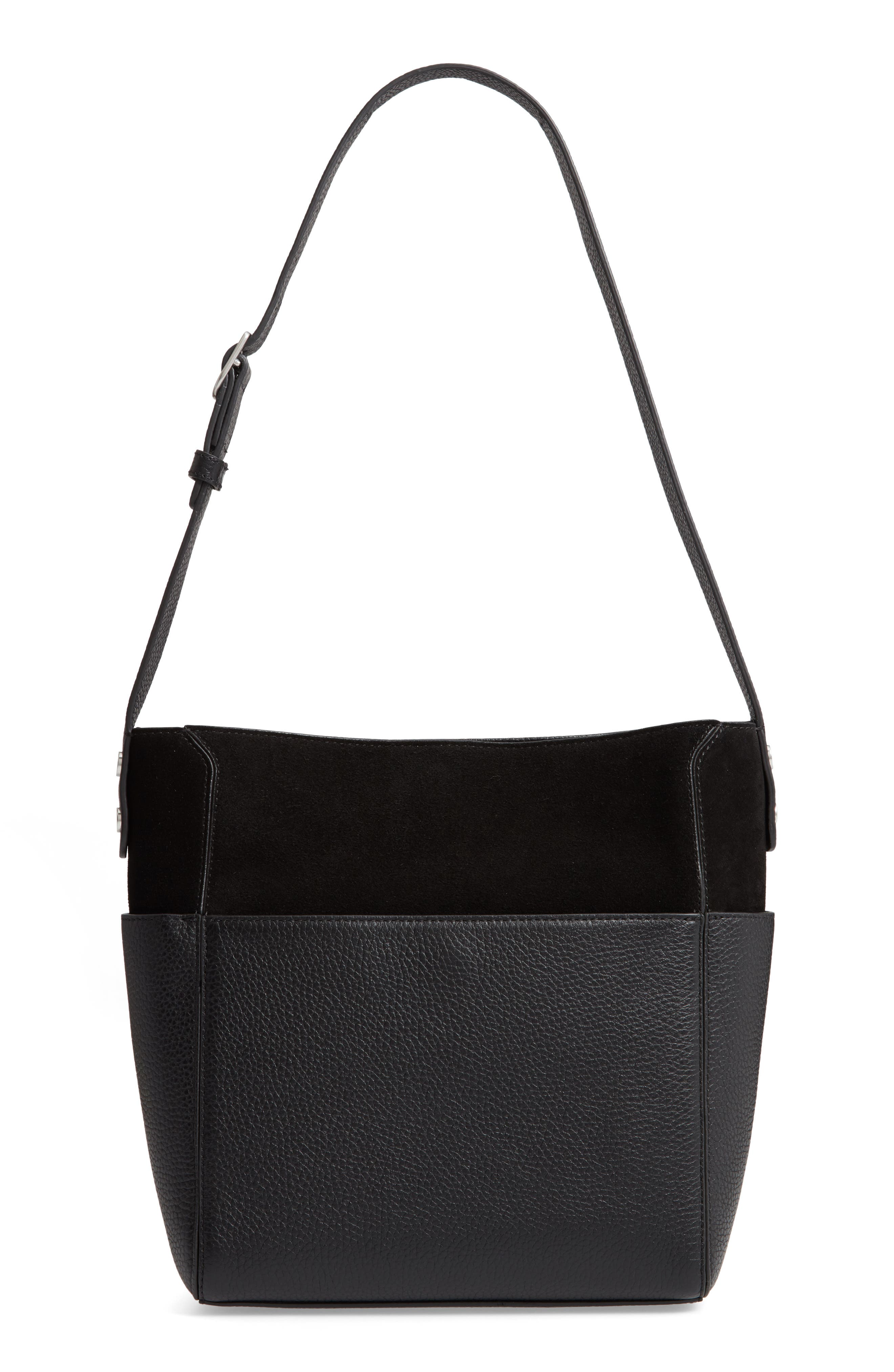 Campbell Leather & Suede Bucket Bag,                             Main thumbnail 1, color,                             BLACK