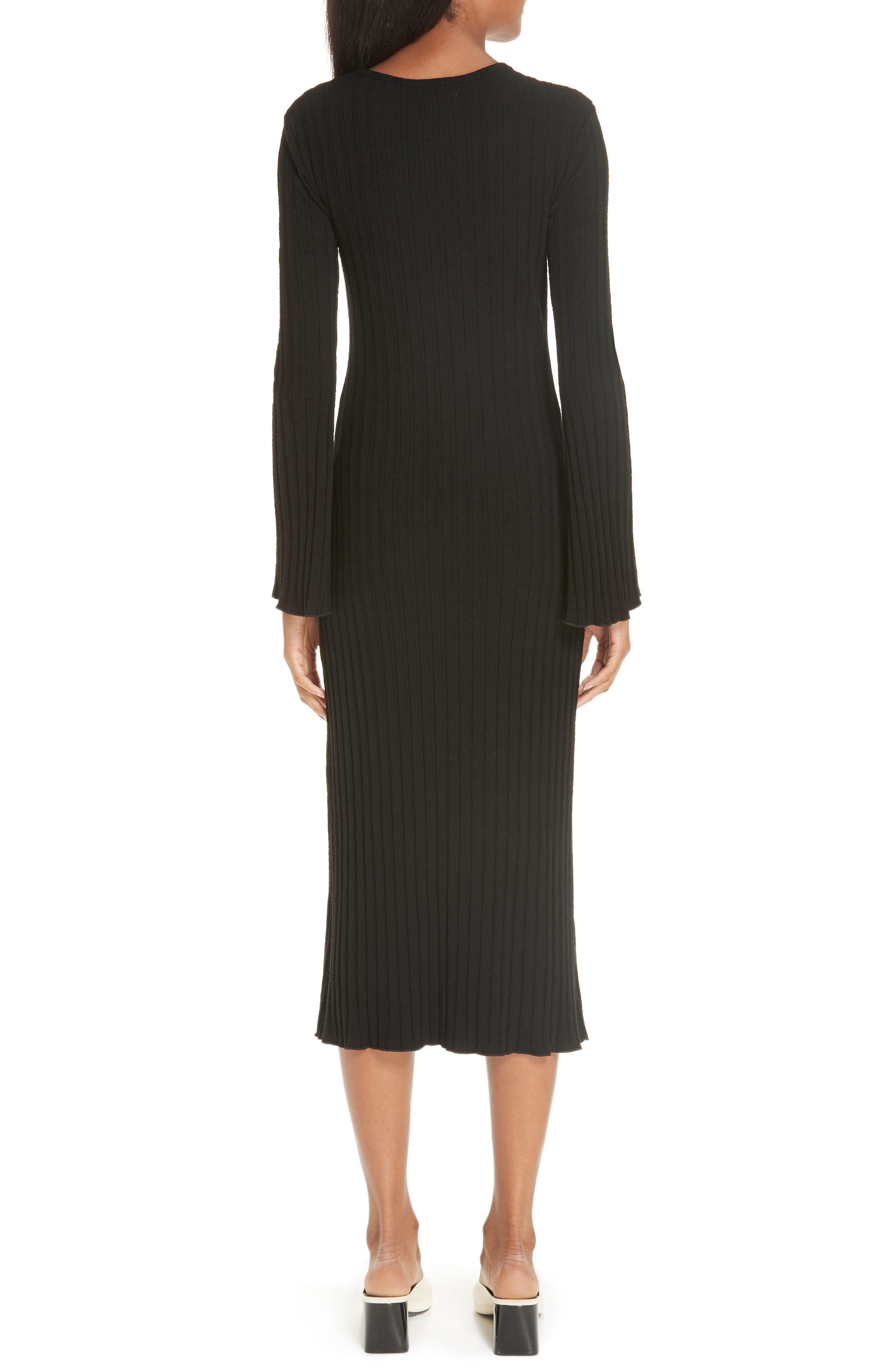 Rib Dress,                             Alternate thumbnail 2, color,                             BLACK