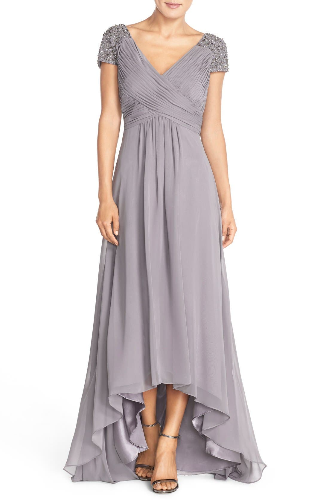 Embellished Pleated Chiffon Gown,                             Main thumbnail 1, color,                             030