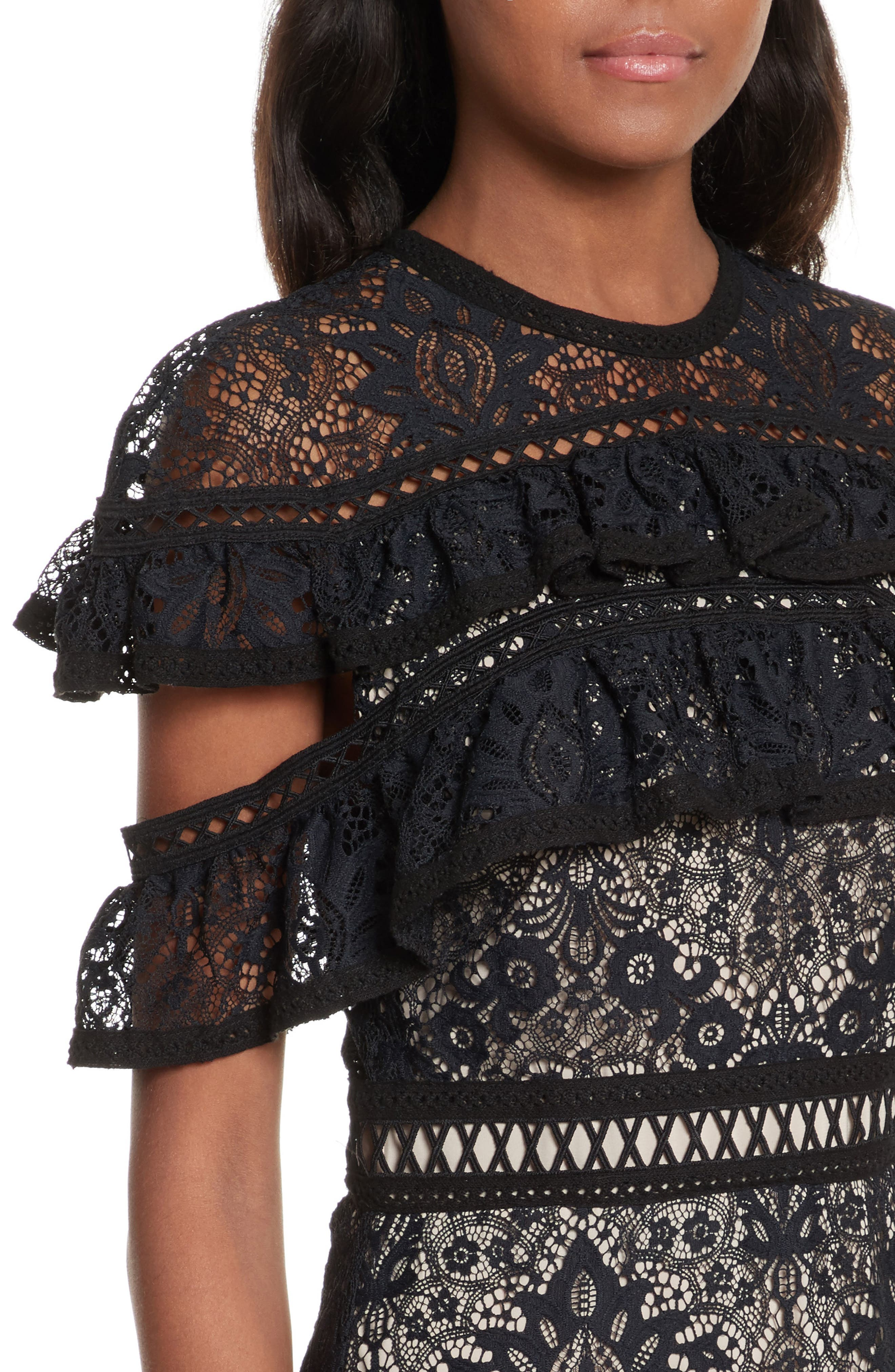 Jolie Tiered Ruffle Lace Dress,                             Alternate thumbnail 4, color,                             009