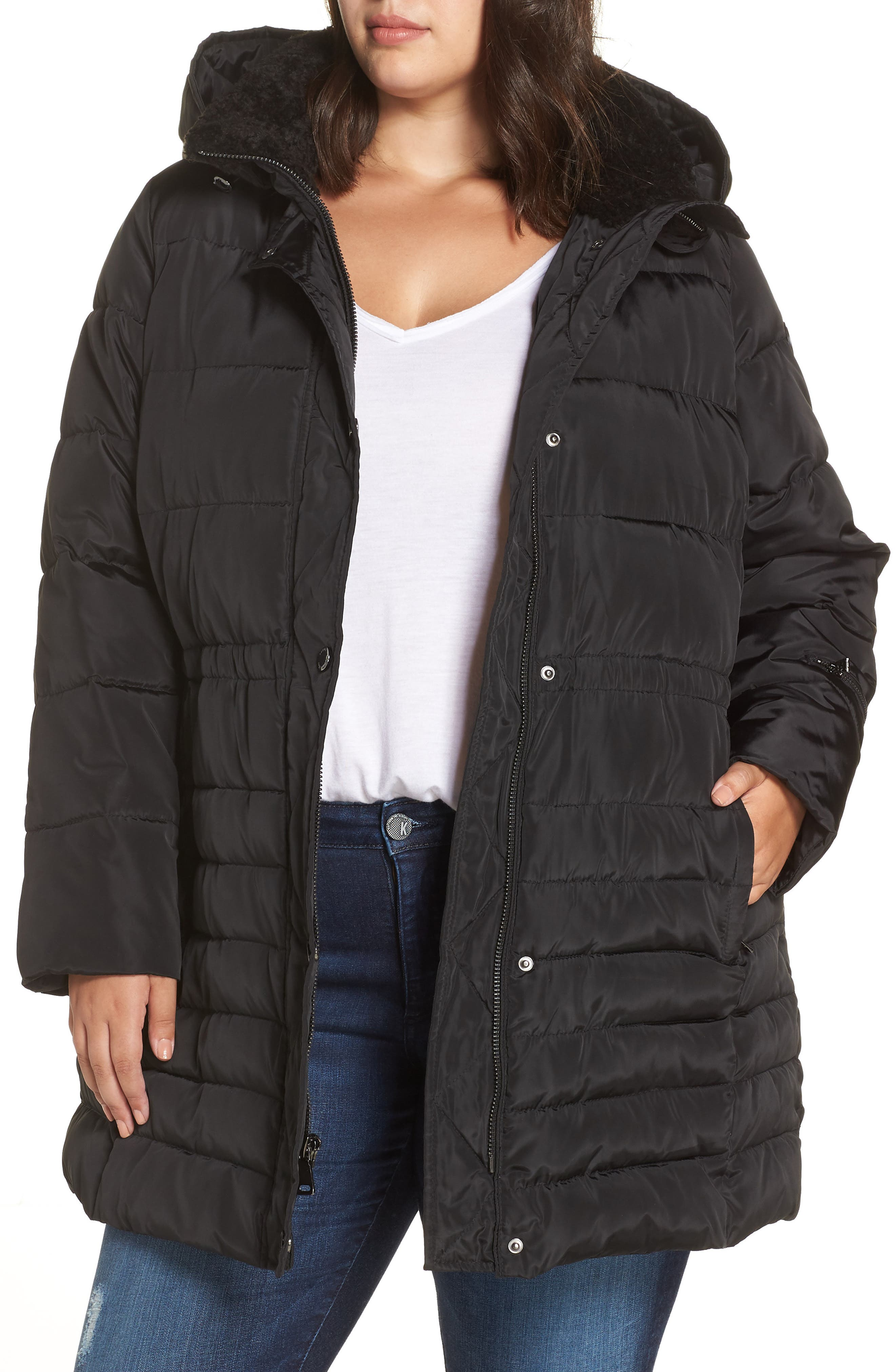 Matte Finish Puffer Coat,                         Main,                         color, BLACK