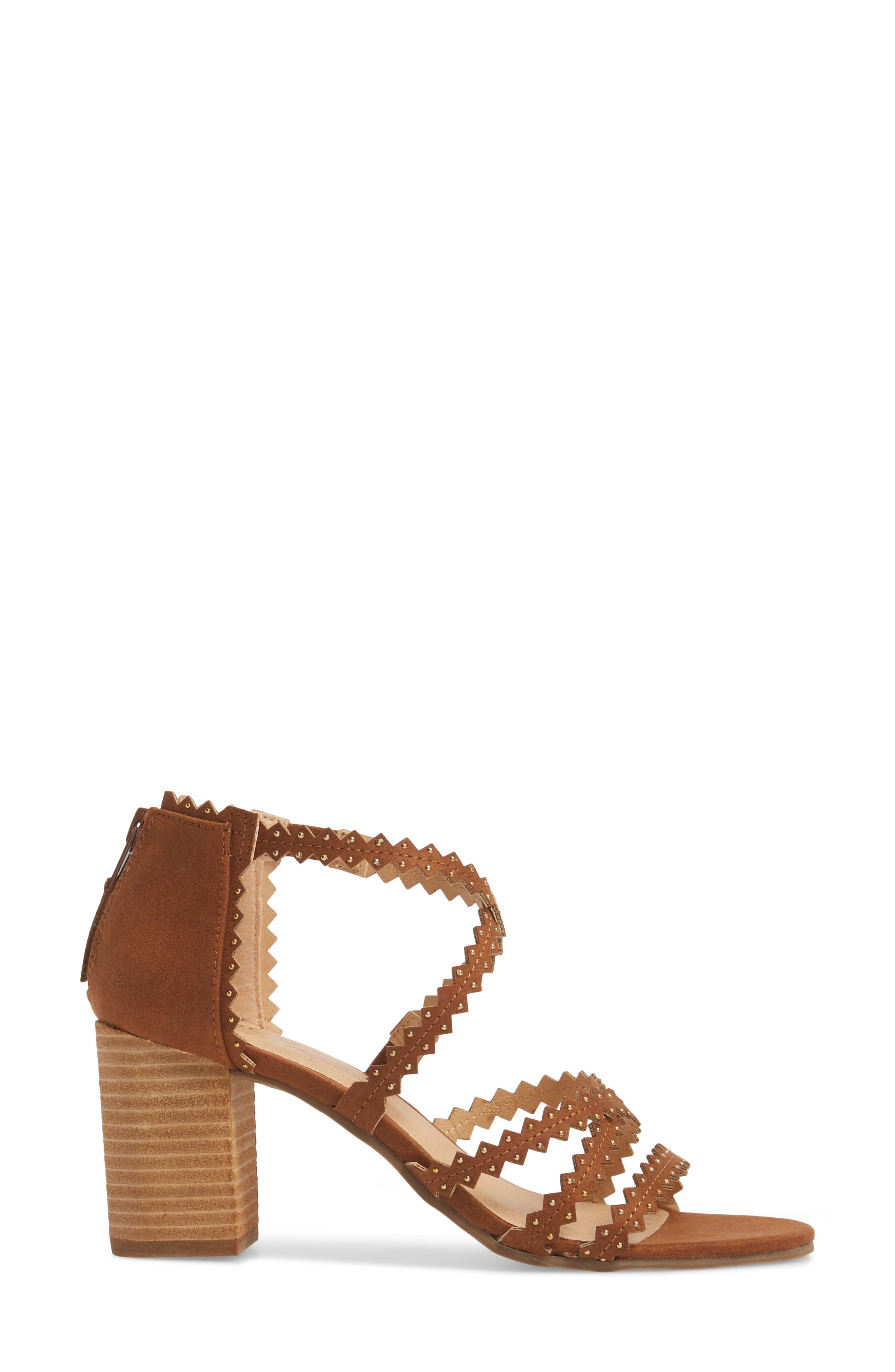 Aiden Block Heel Sandal,                             Alternate thumbnail 3, color,                             SADDLE SUEDE