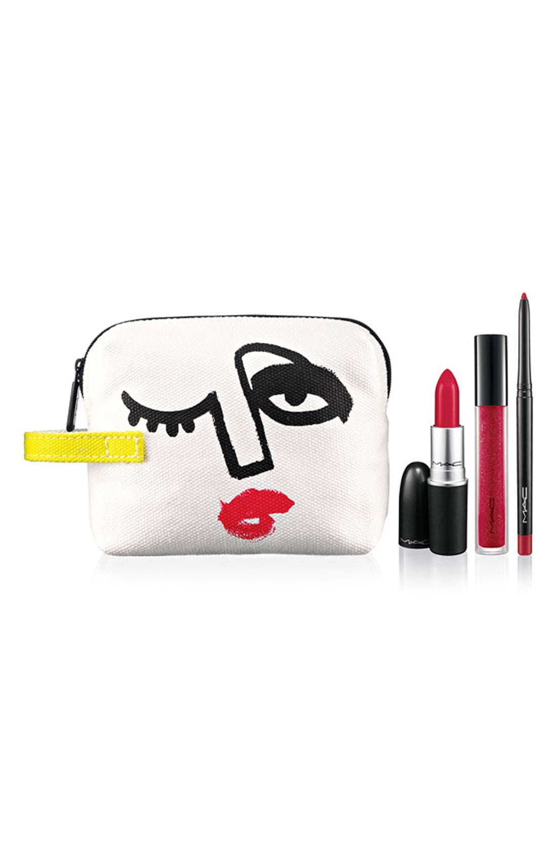 M·A·C 'Illustrated - Red x3' Lip Color & Bag by Julie Verhoeven,                             Main thumbnail 1, color,                             000