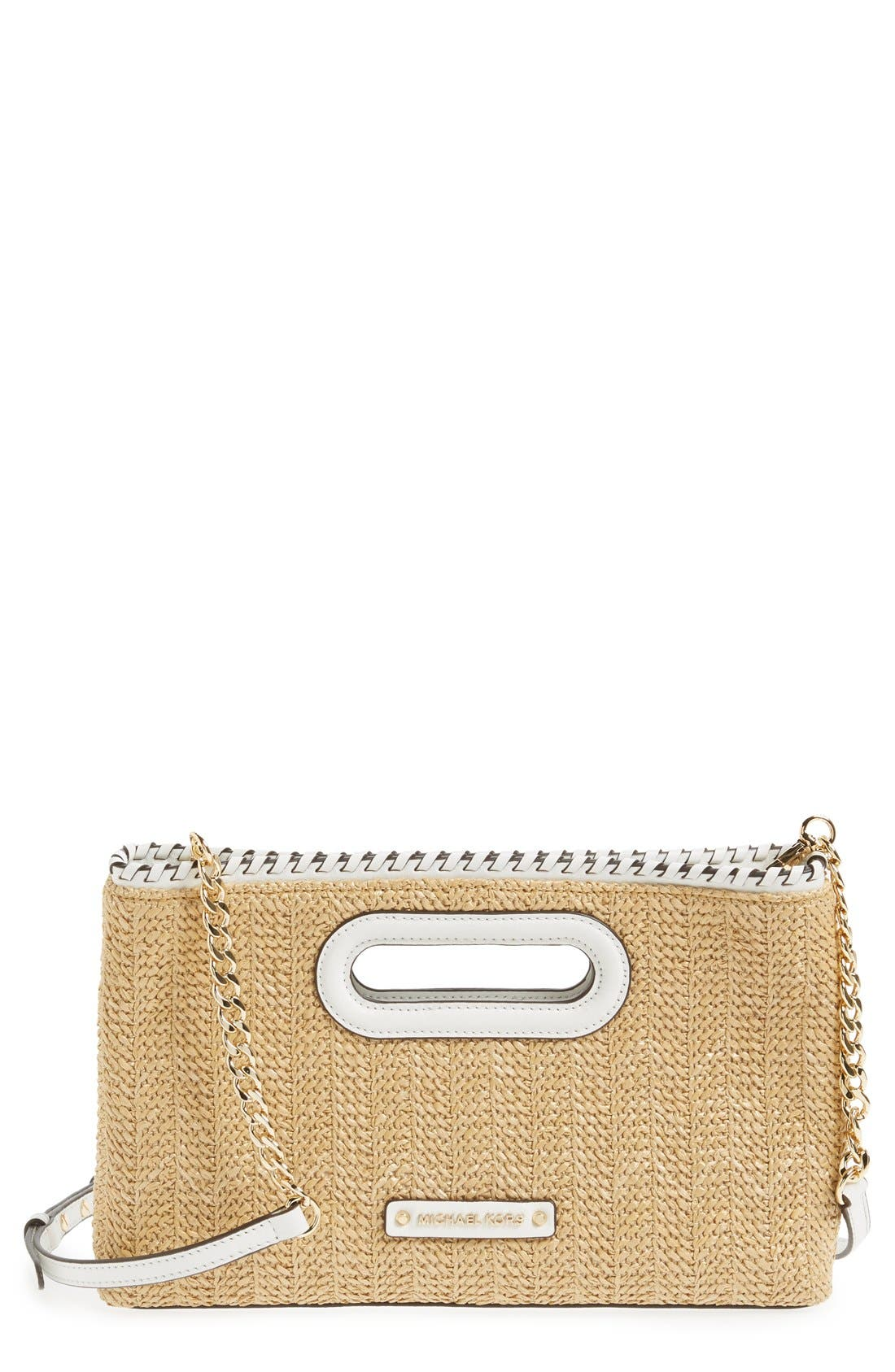 'Large Rosalie' Straw Clutch, Main, color, 100