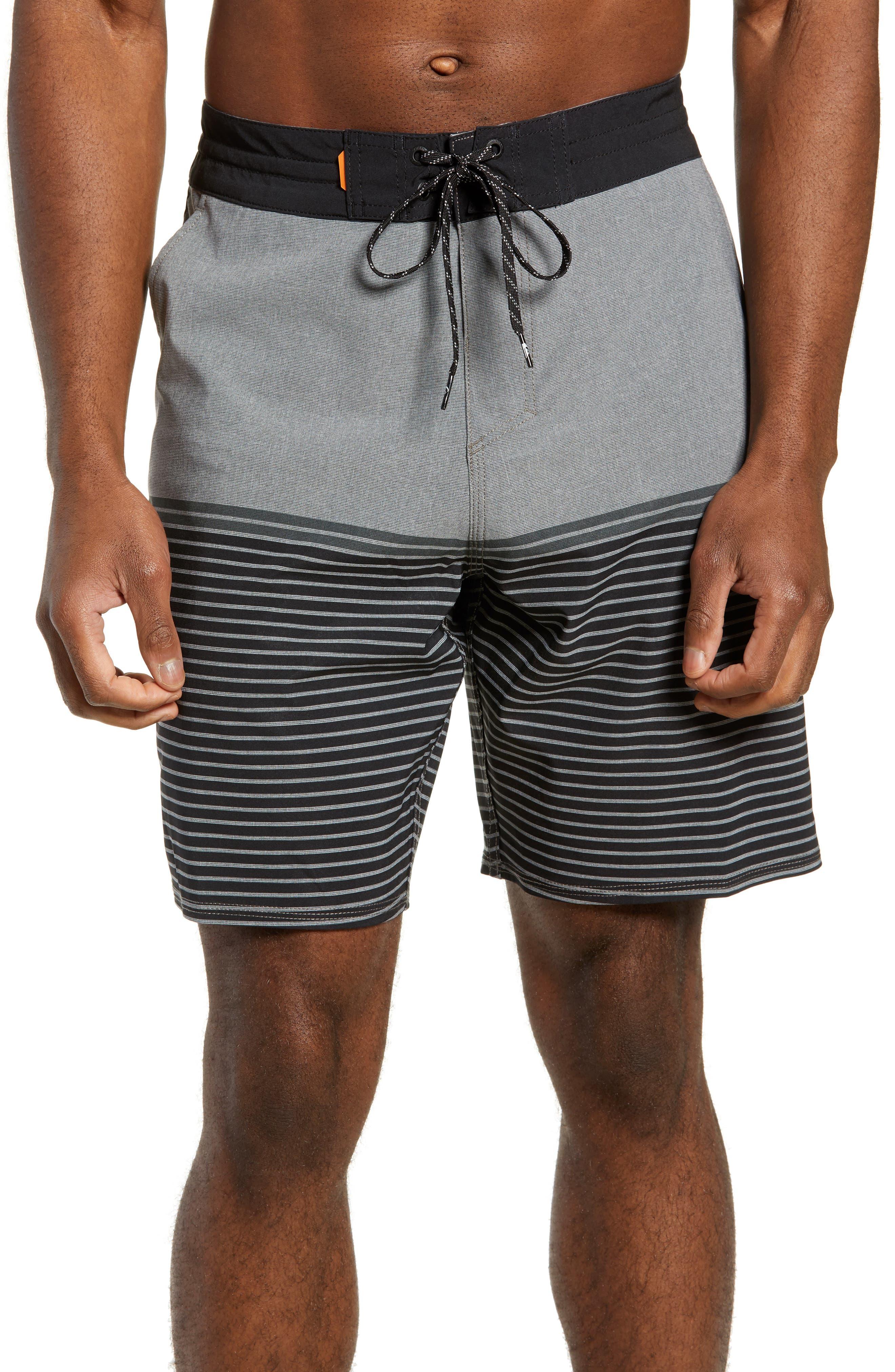 Liberty Stripe Board Shorts,                         Main,                         color, DARK SHADOW