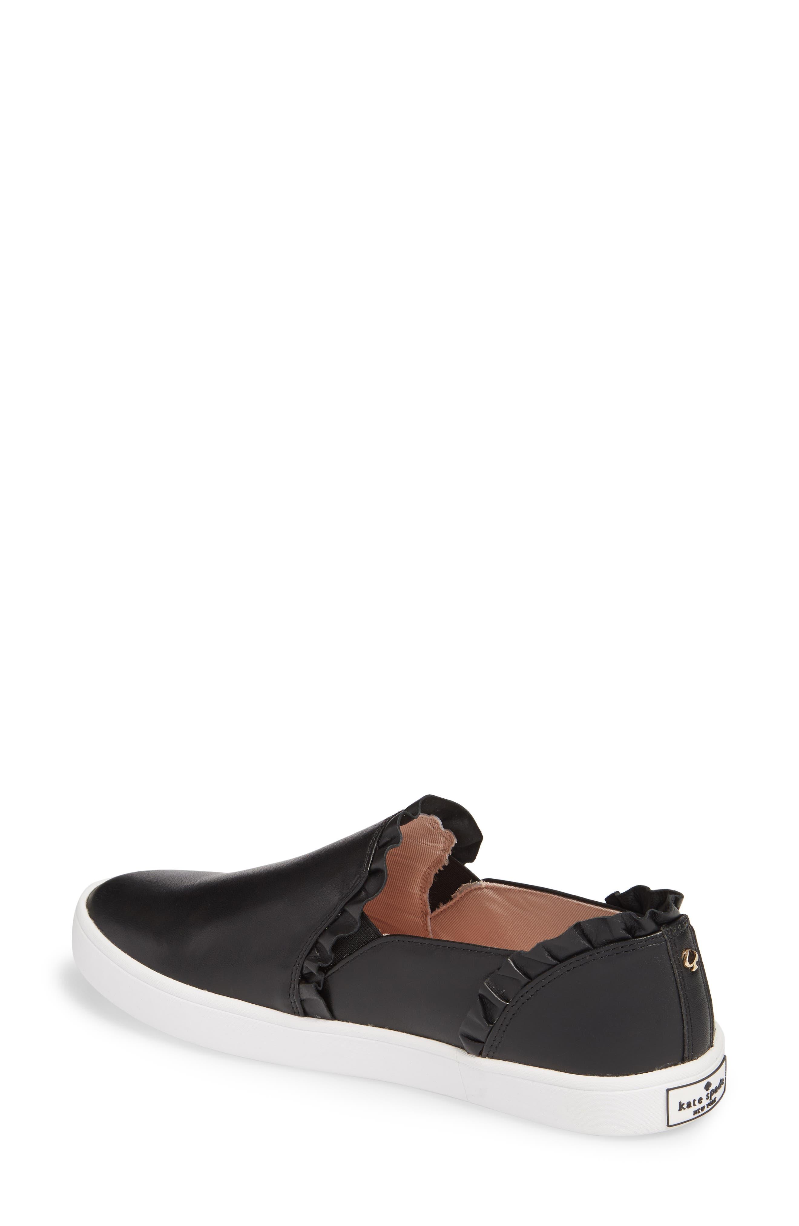 lilly ruffle slip-on sneaker,                             Alternate thumbnail 2, color,                             BLACK NAPPA