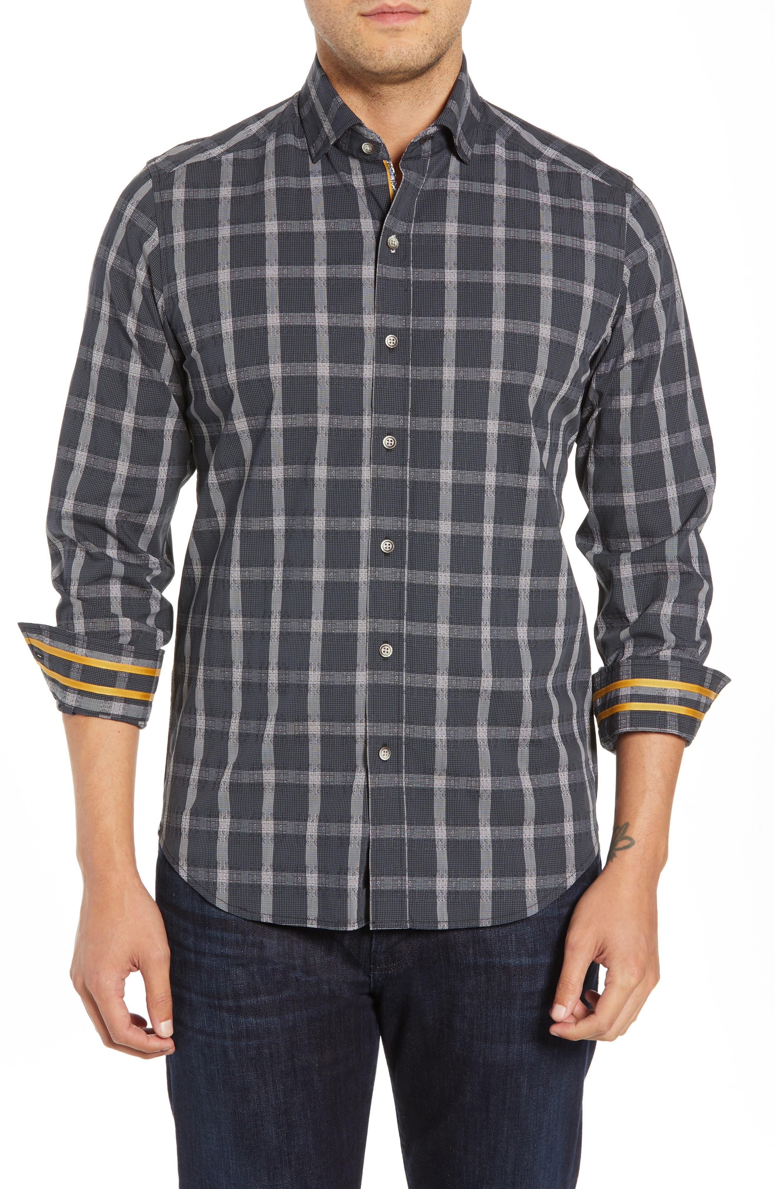 Jenson Tailored Fit Sport Shirt,                         Main,                         color, BLACK