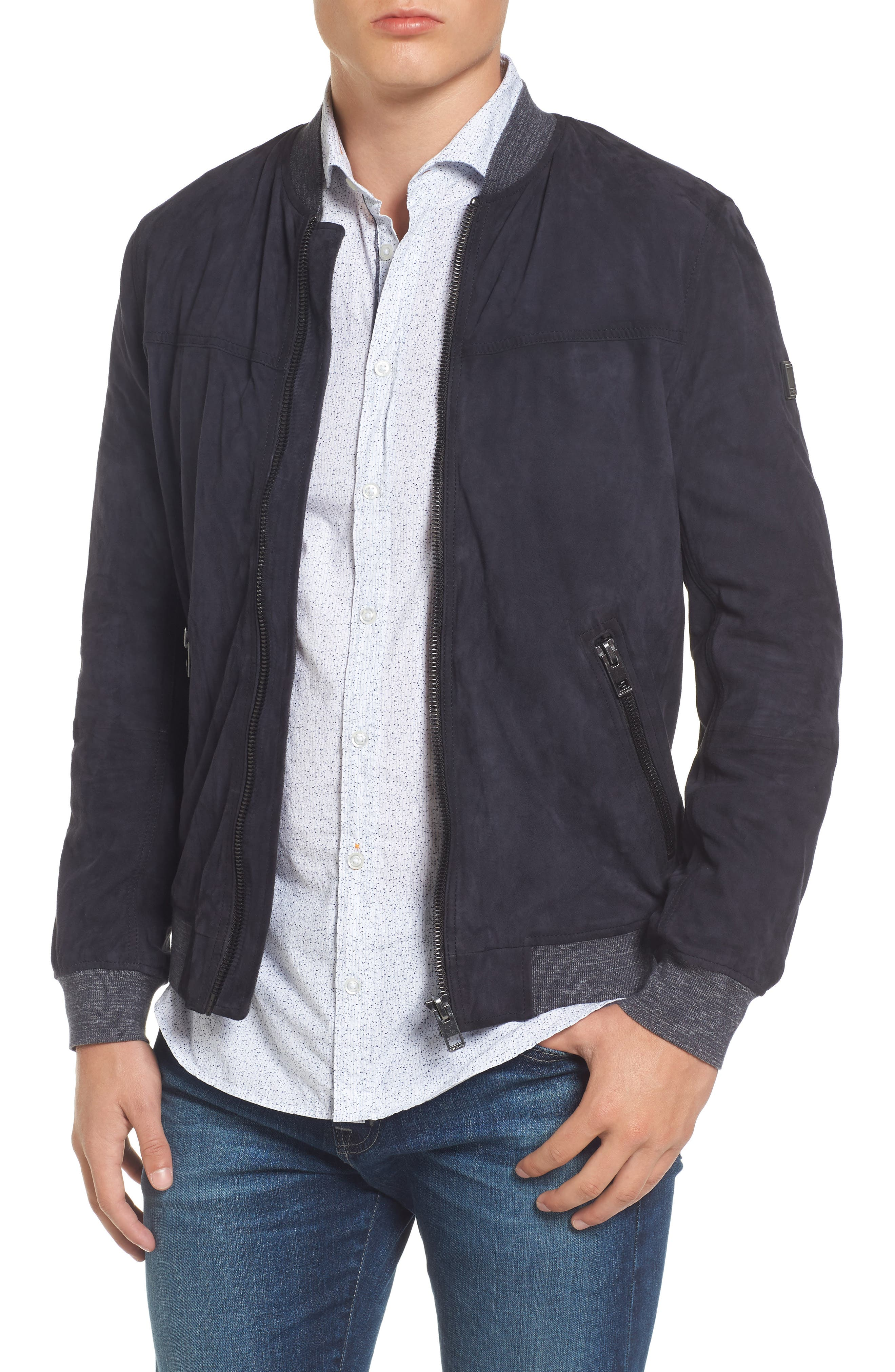 Suede Bomber Jacket,                             Main thumbnail 1, color,                             404