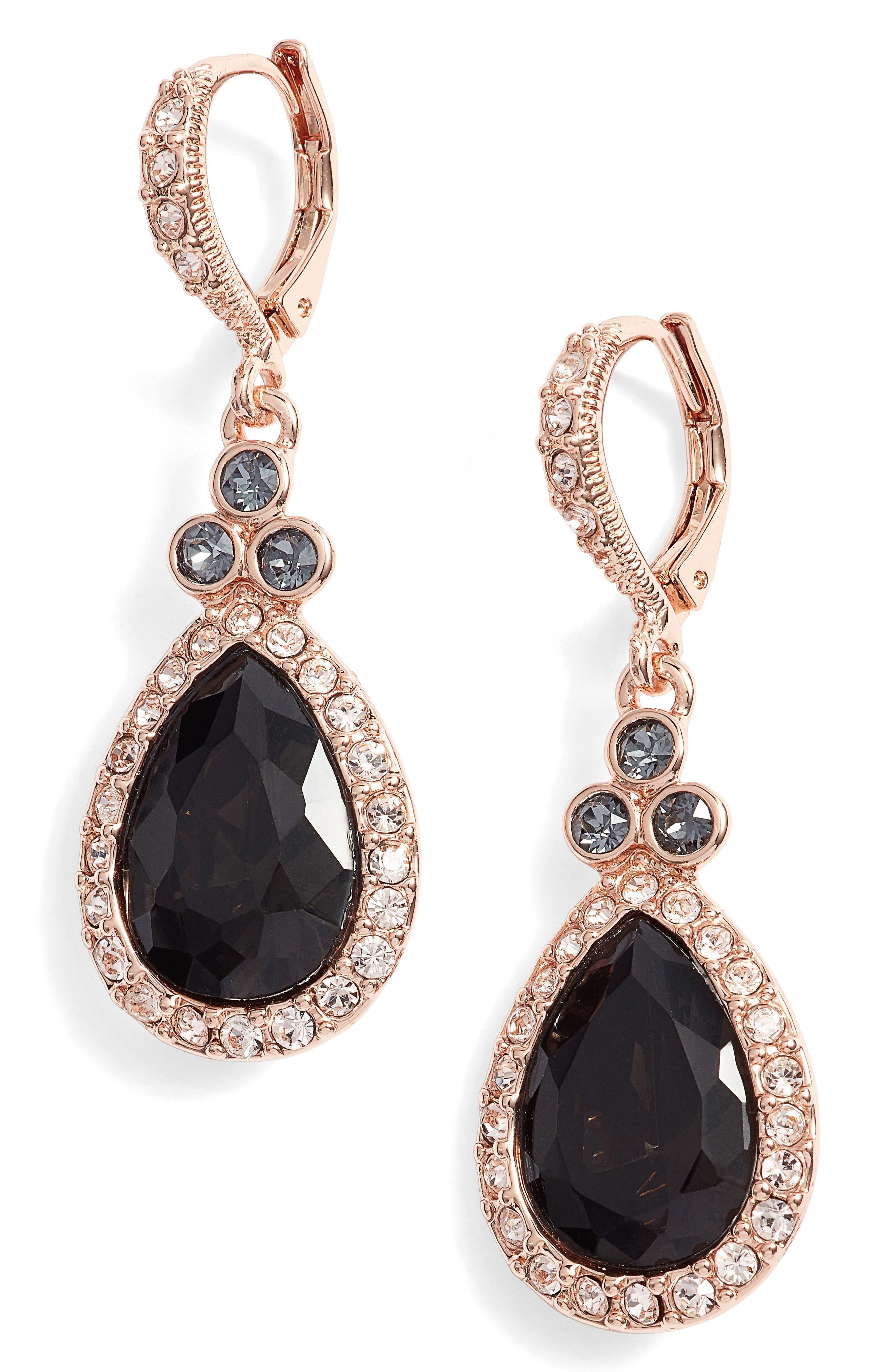 Pavé Pear Drop Earrings,                         Main,                         color,