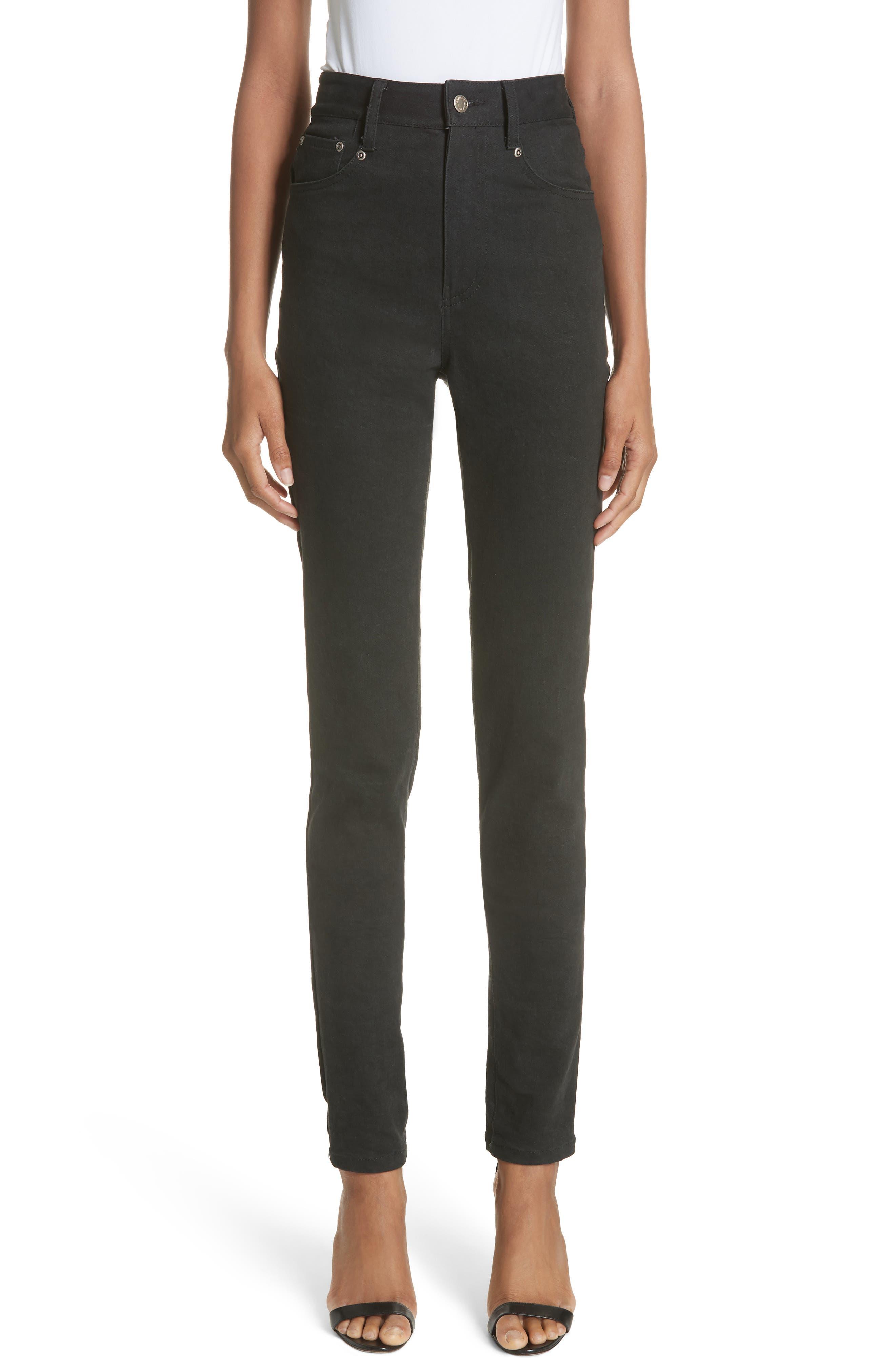 BRANDON MAXWELL High-Waist Skinny Jeans in Black