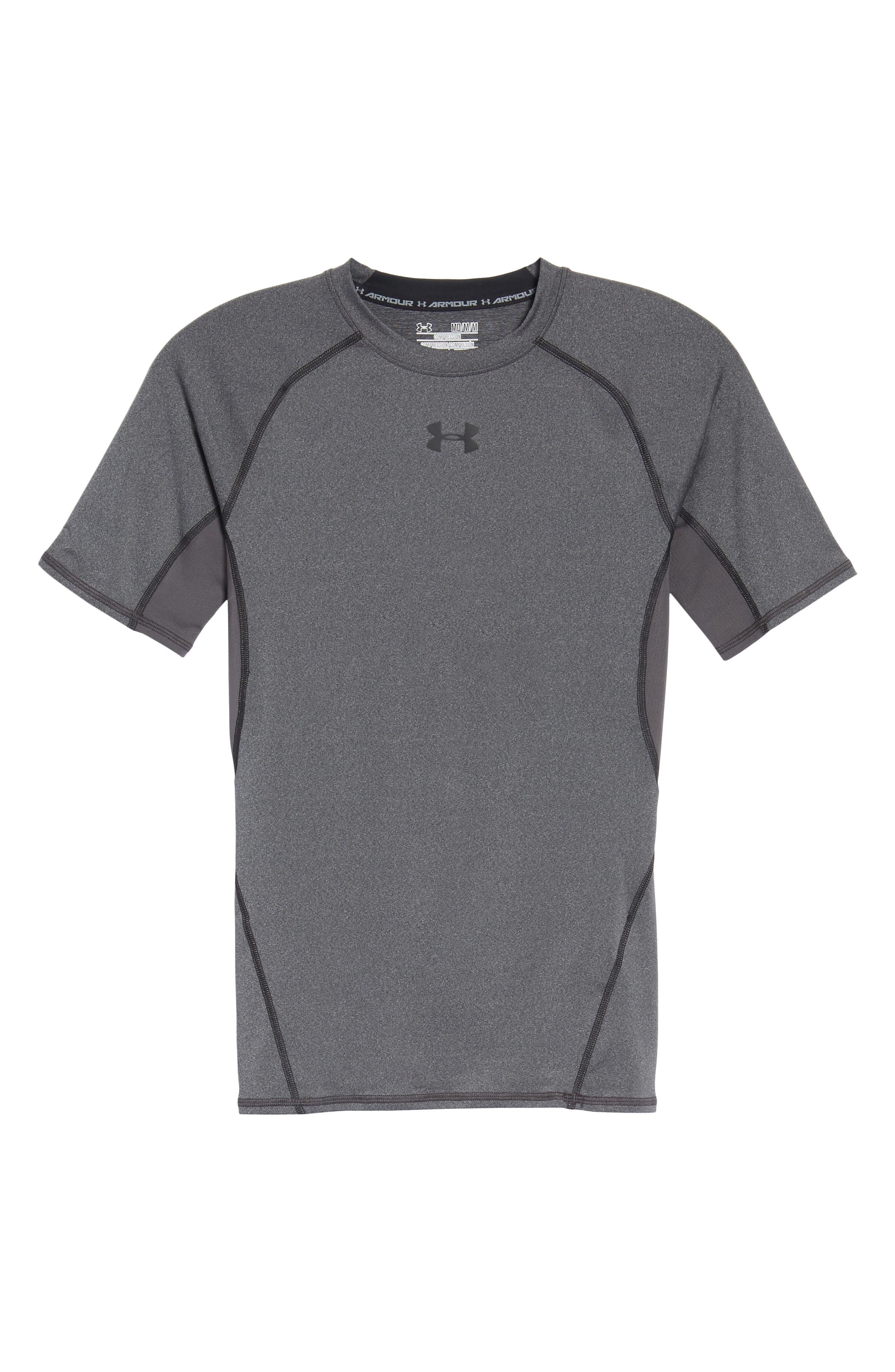 HeatGear<sup>®</sup> Compression Fit T-Shirt,                             Alternate thumbnail 7, color,                             CARBON HEATHER/ BLACK