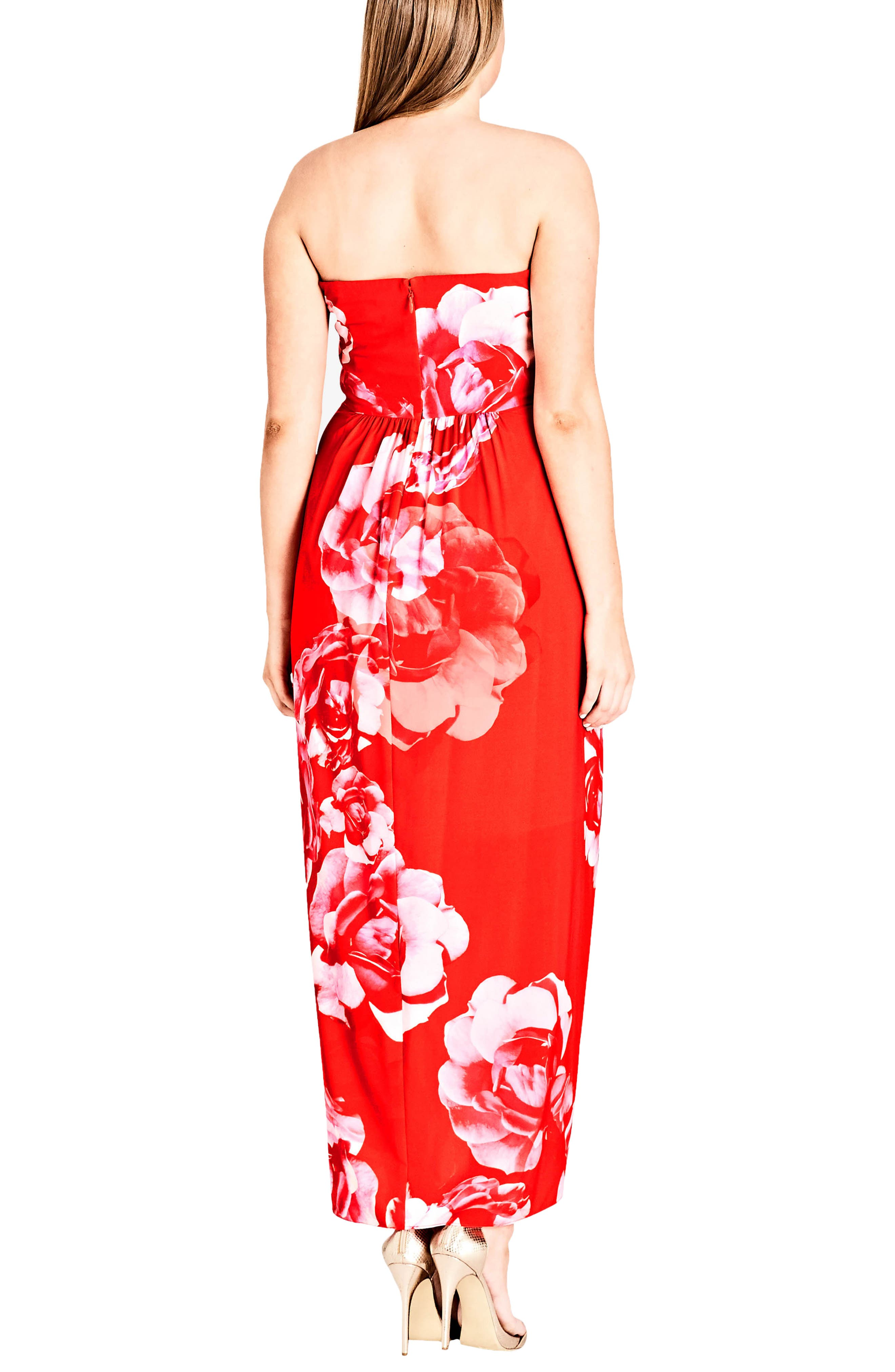 Tango Floral Strapless Maxi Dress,                             Alternate thumbnail 2, color,                             TANGO FLORAL