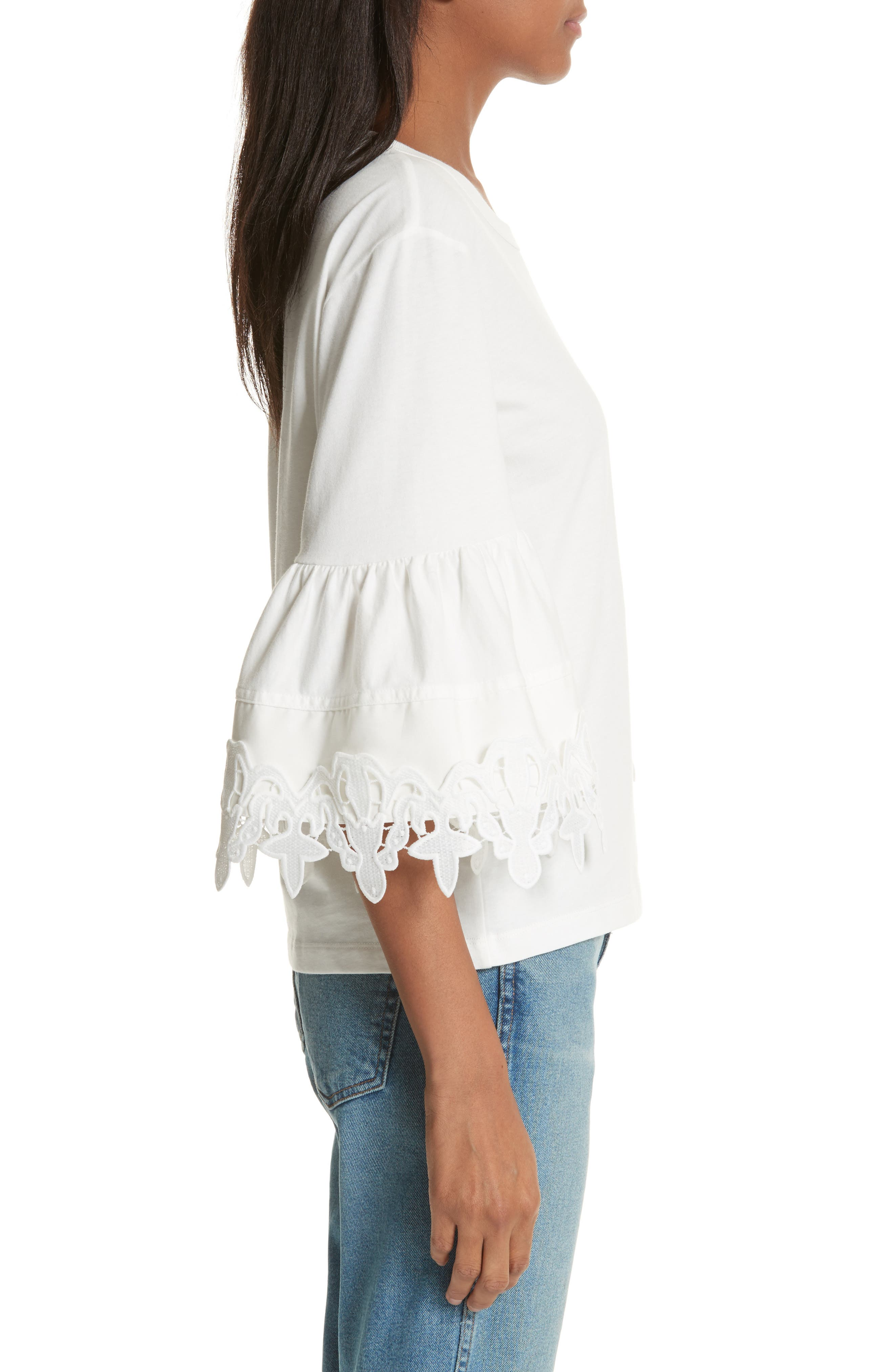 Lace Trim Bell Sleeve Top,                             Alternate thumbnail 6, color,