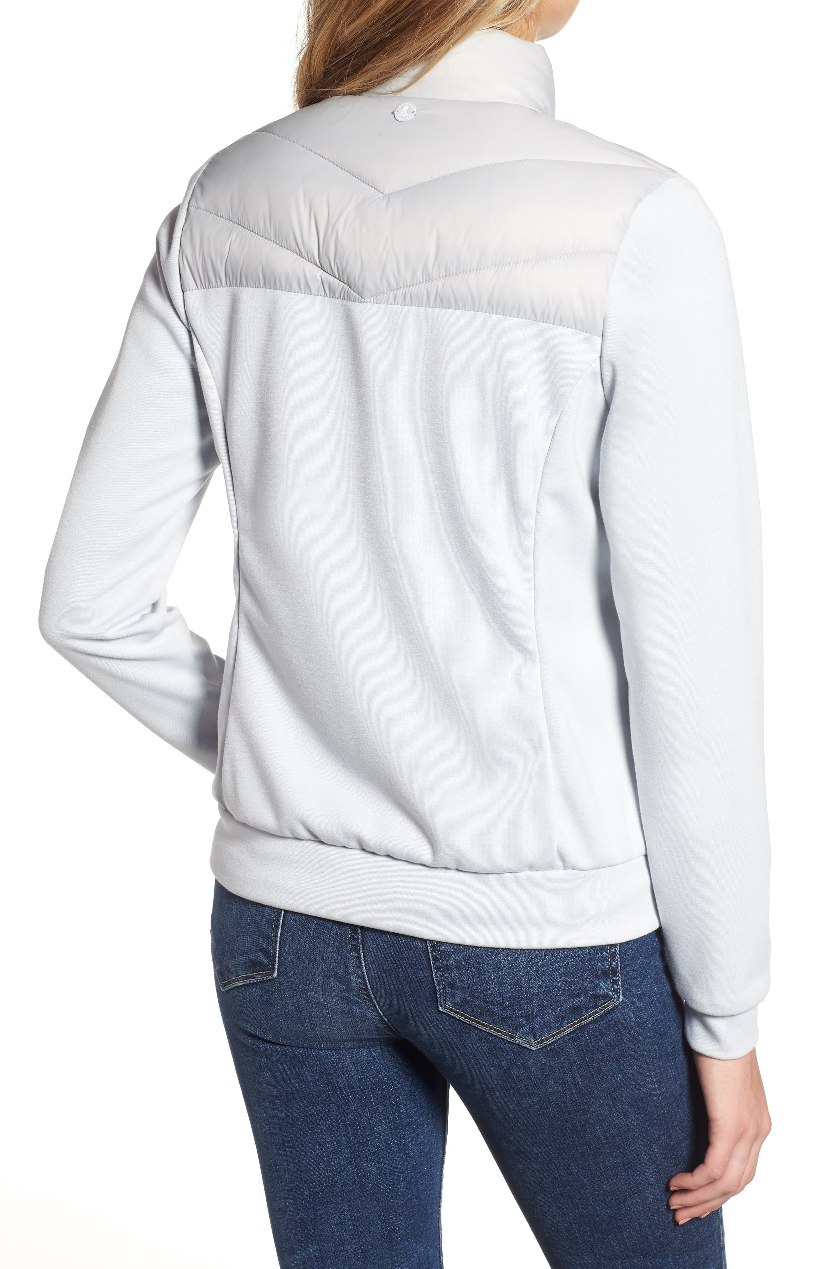 BARBOUR,                             Hirsel Chevron Quilted Sweater Jacket,                             Alternate thumbnail 2, color,                             ICE WHITE/ ICE WHITE MARL