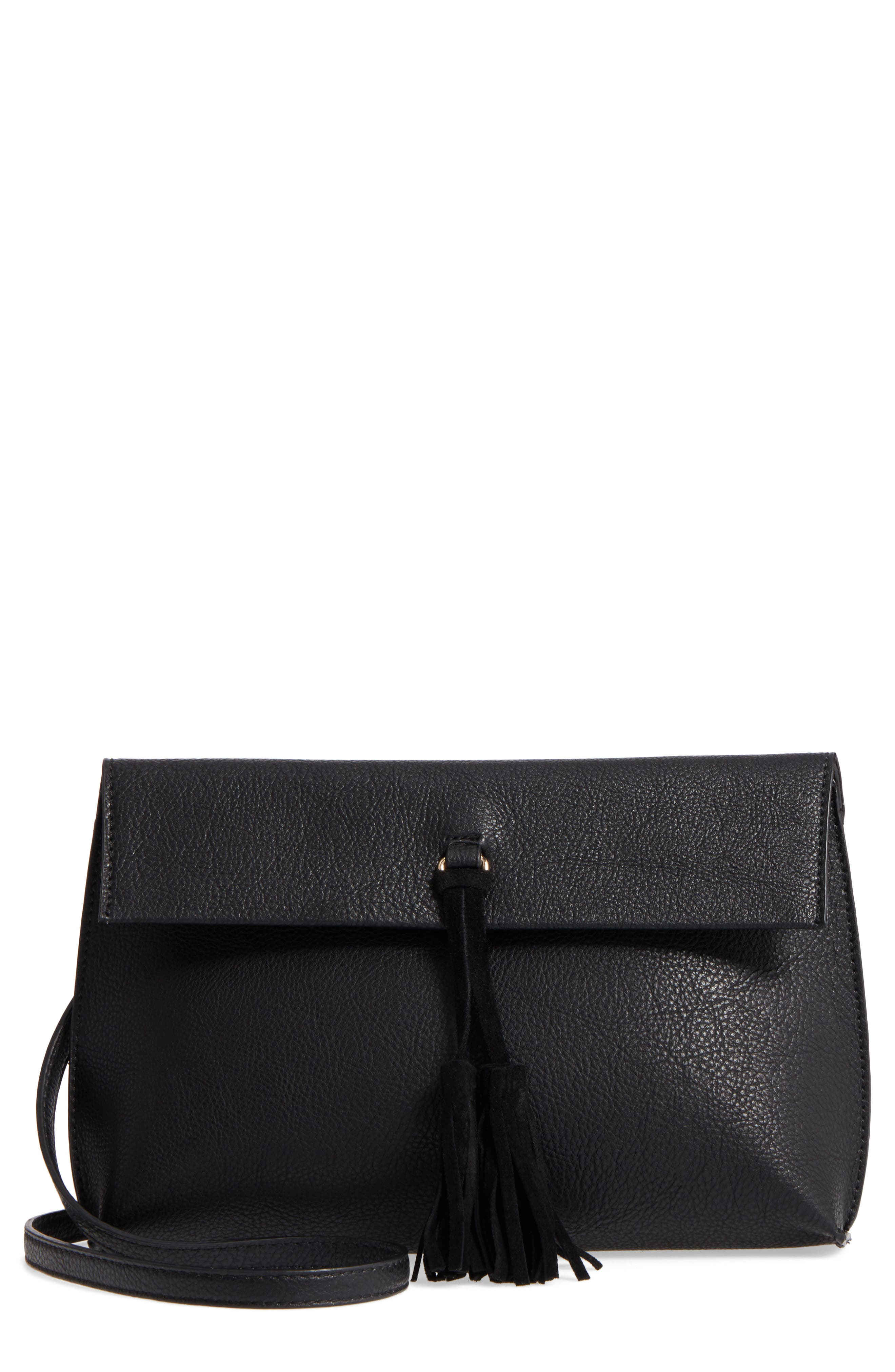 Faux Leather Tassel Tote,                         Main,                         color, 001