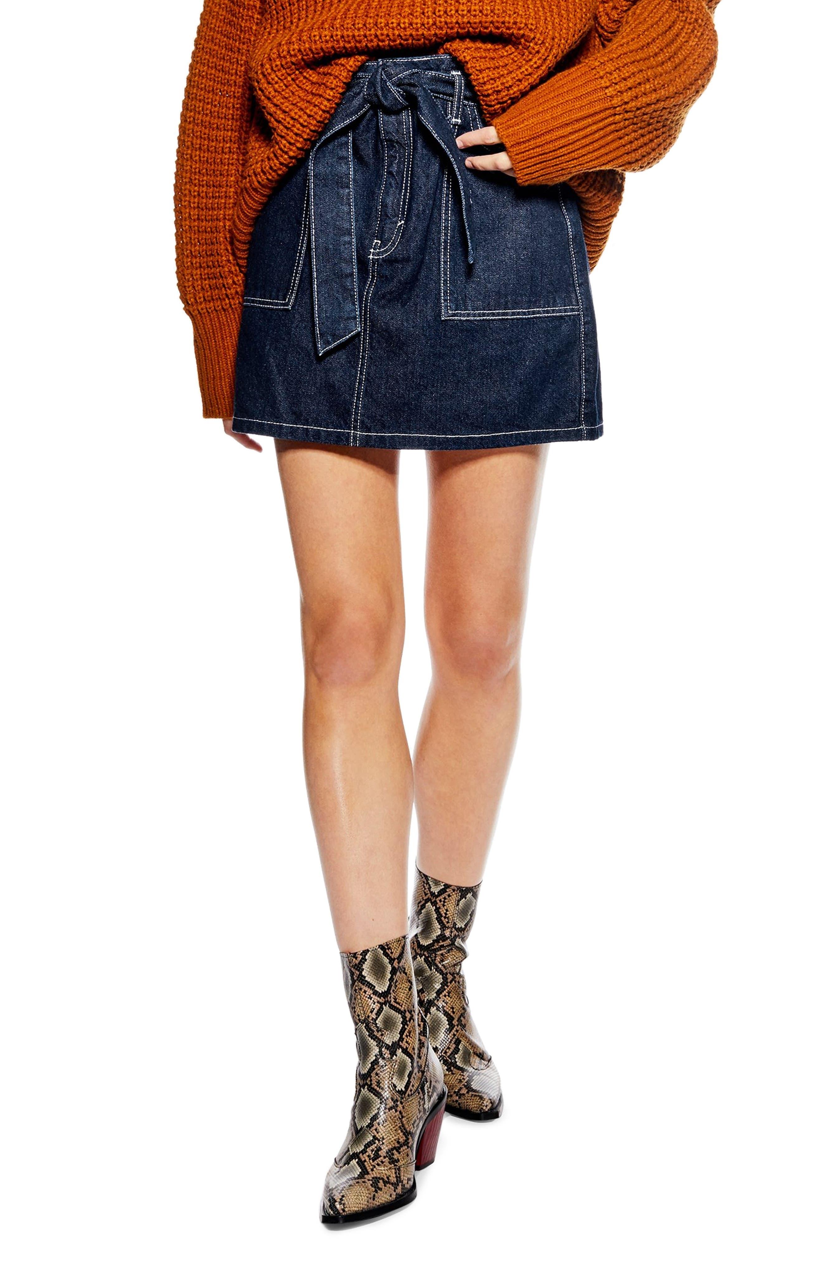Topshop Belted Utility Skirt, US (fits like 0) - Blue