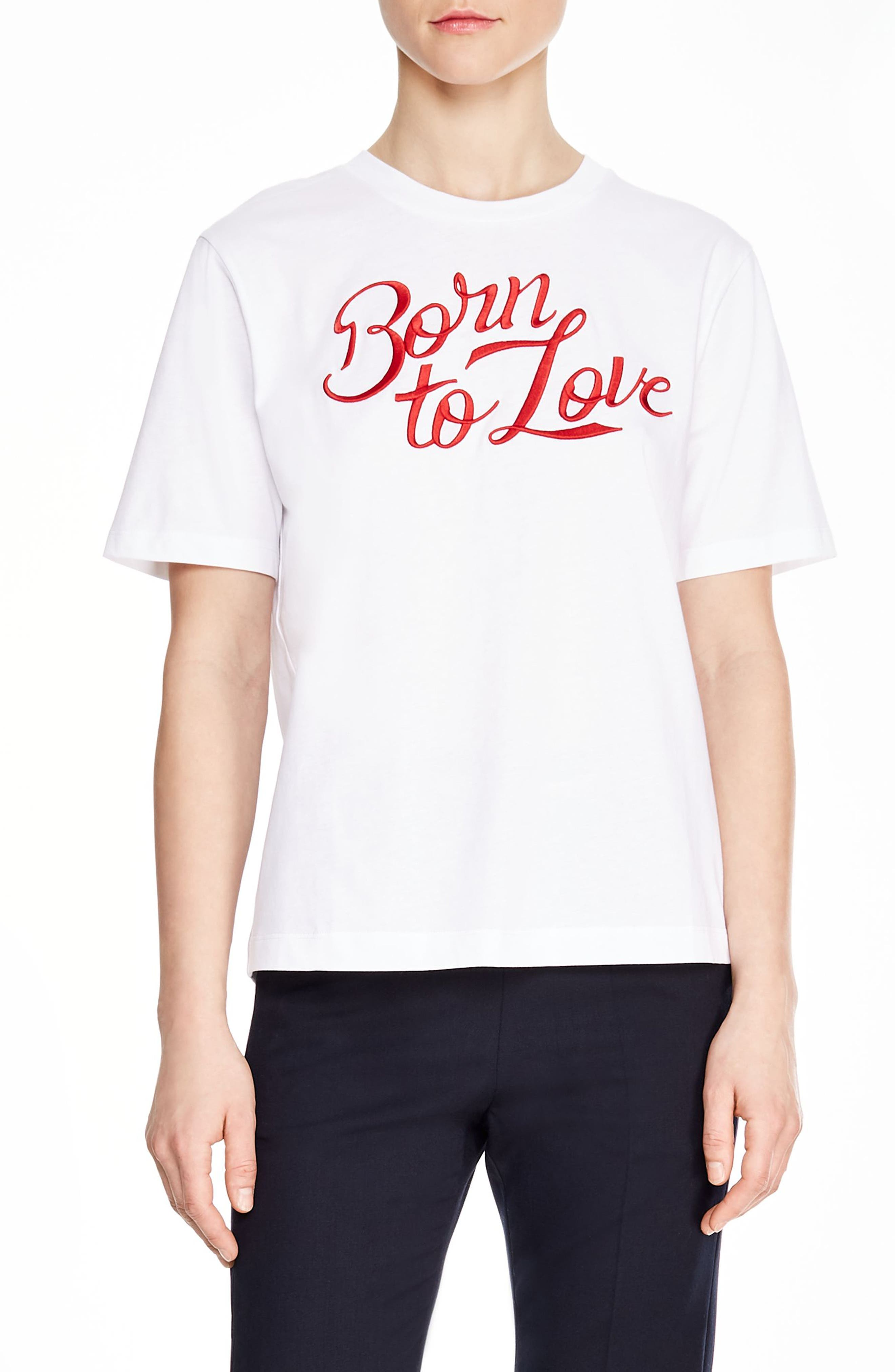 SANDRO Adele Born to Love Tee, Main, color, WHITE
