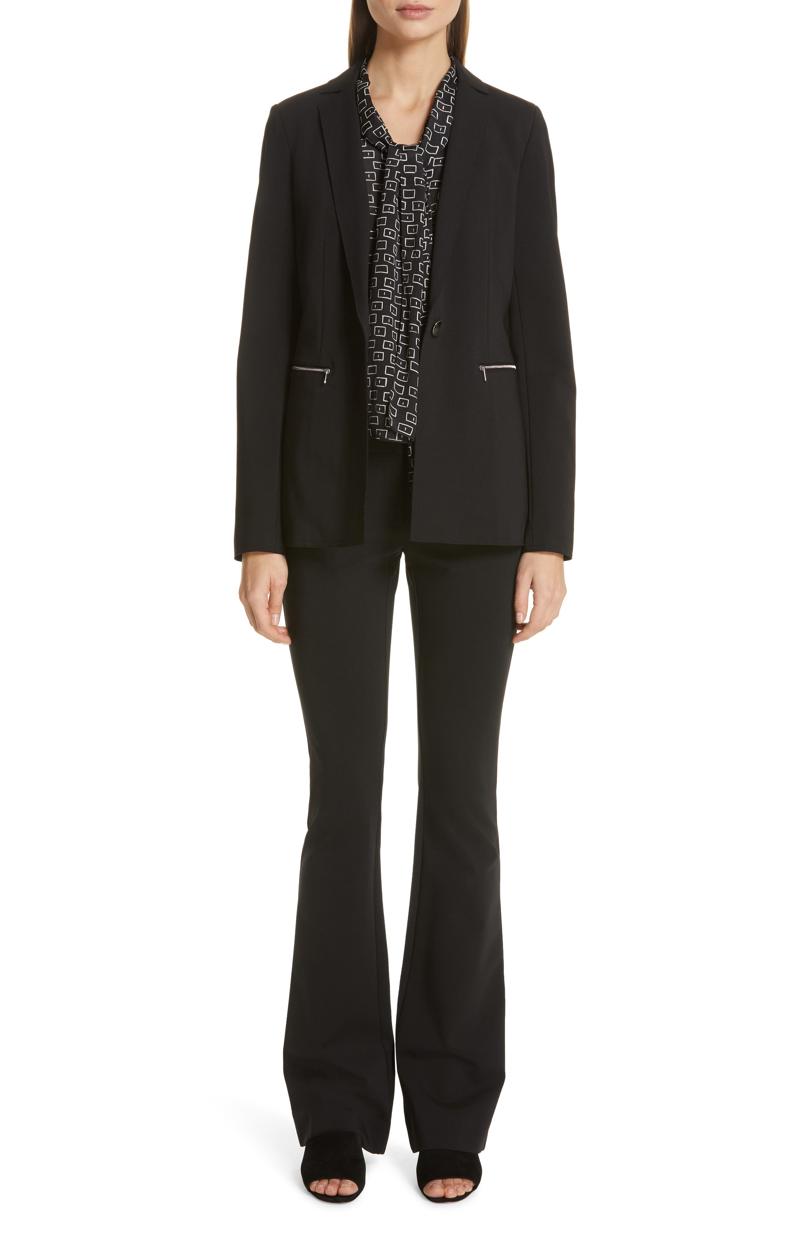 LAFAYETTE 148 NEW YORK,                             Waldorf Flare Pants,                             Alternate thumbnail 7, color,                             BLACK