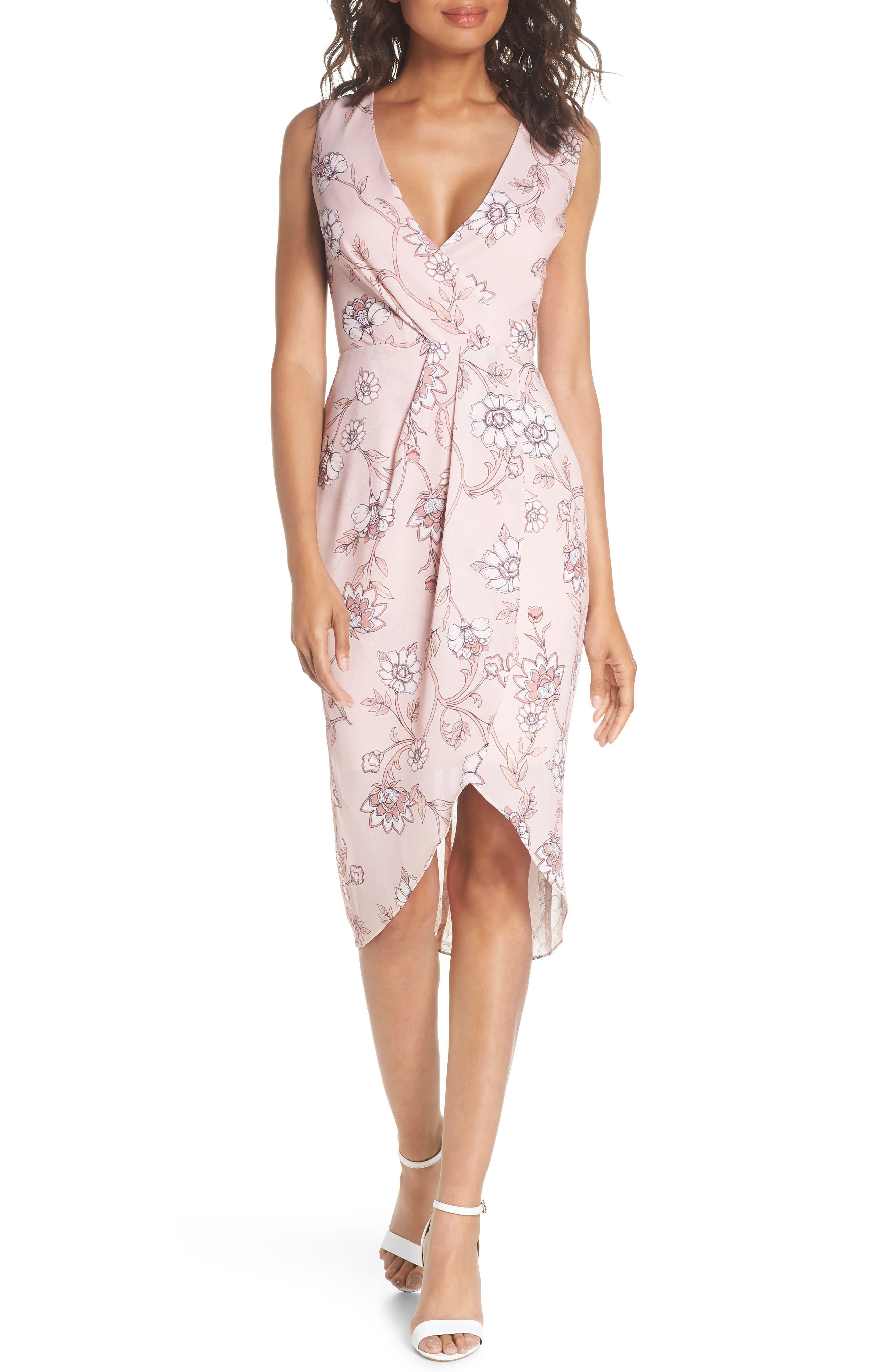 Fiorella Floral Draped Sheath Dress,                             Alternate thumbnail 6, color,                             668