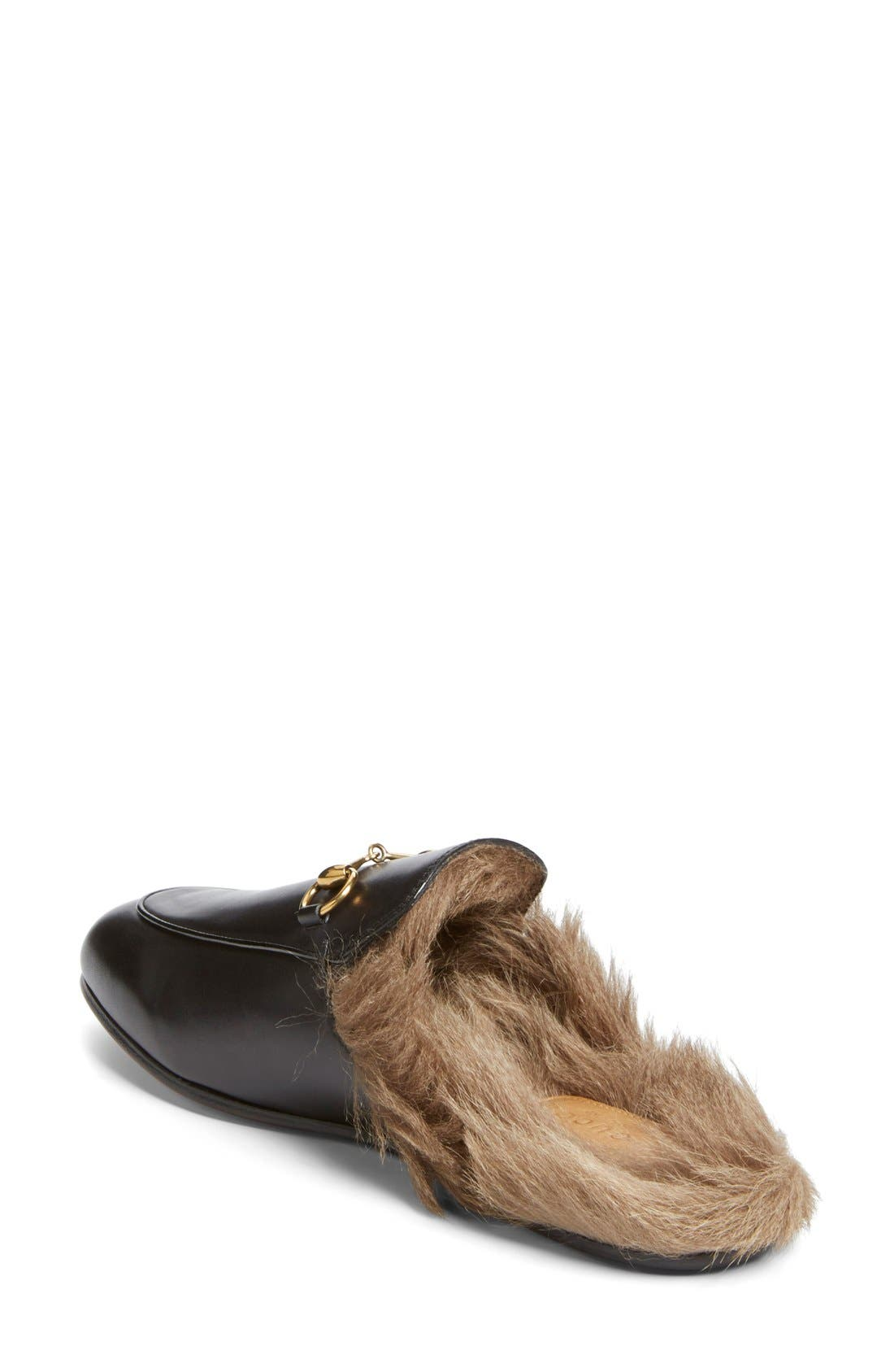Princetown Genuine Shearling Loafer Mule,                             Alternate thumbnail 3, color,                             001