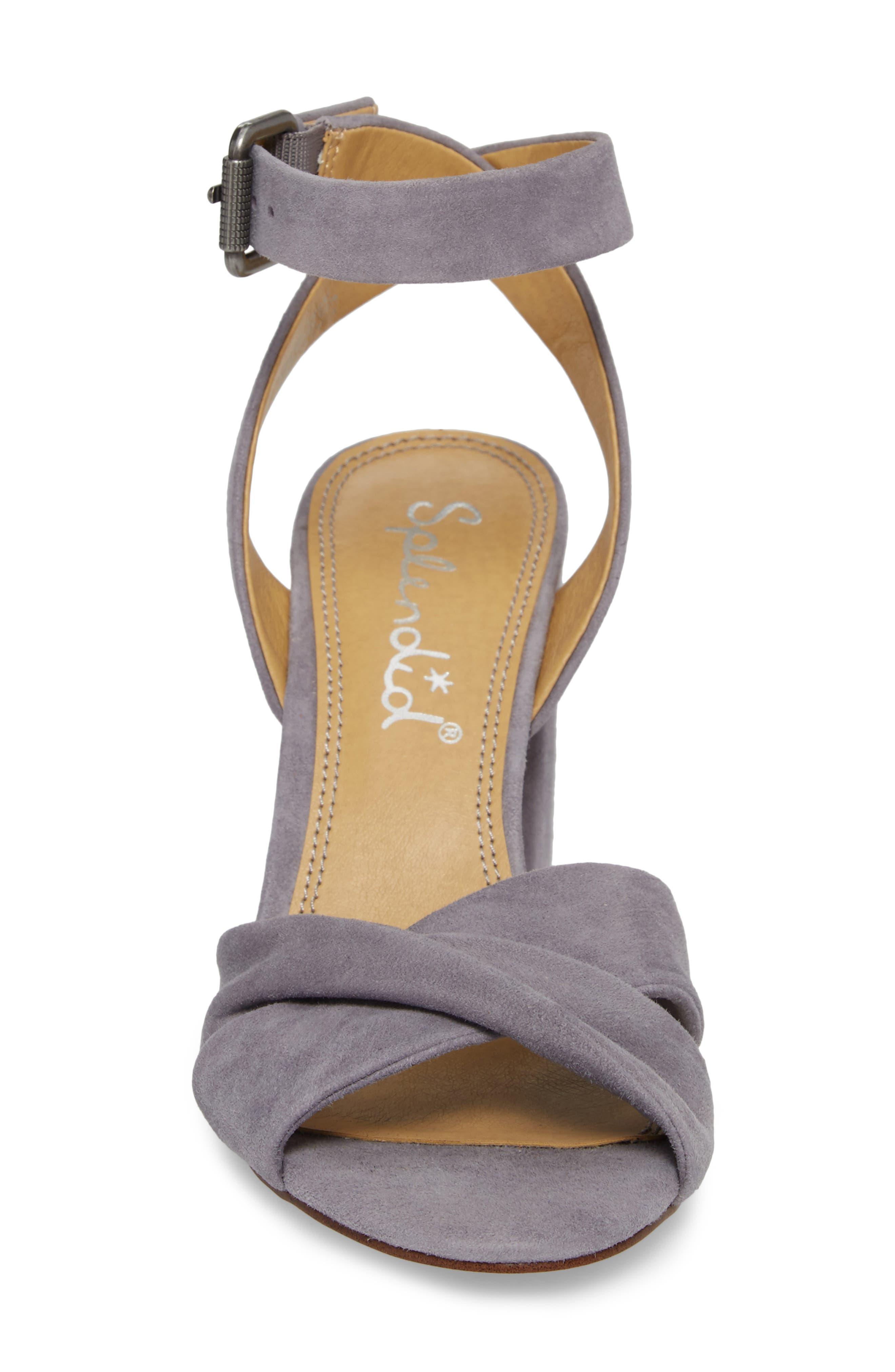 Fairy Block Heel Sandal,                             Alternate thumbnail 4, color,                             STEEL GREY SUEDE