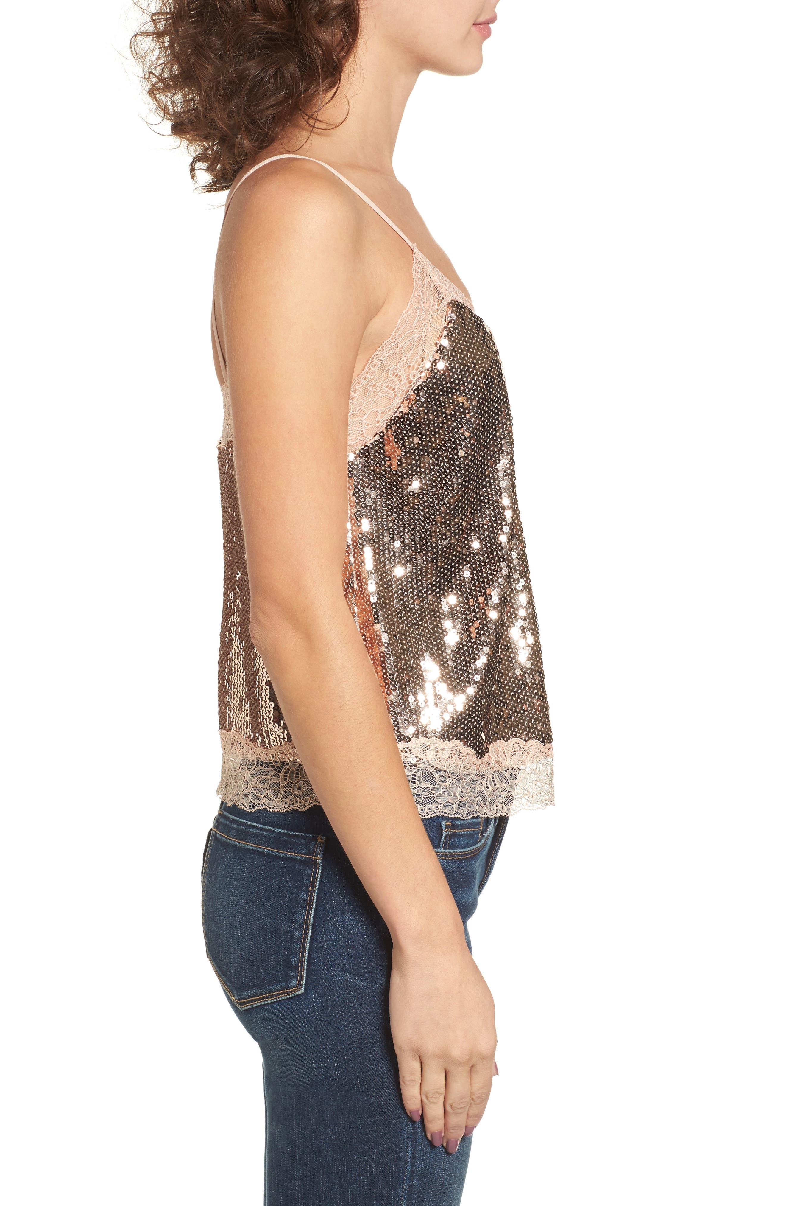 Lace Trim Sequin Camisole Top,                             Alternate thumbnail 3, color,
