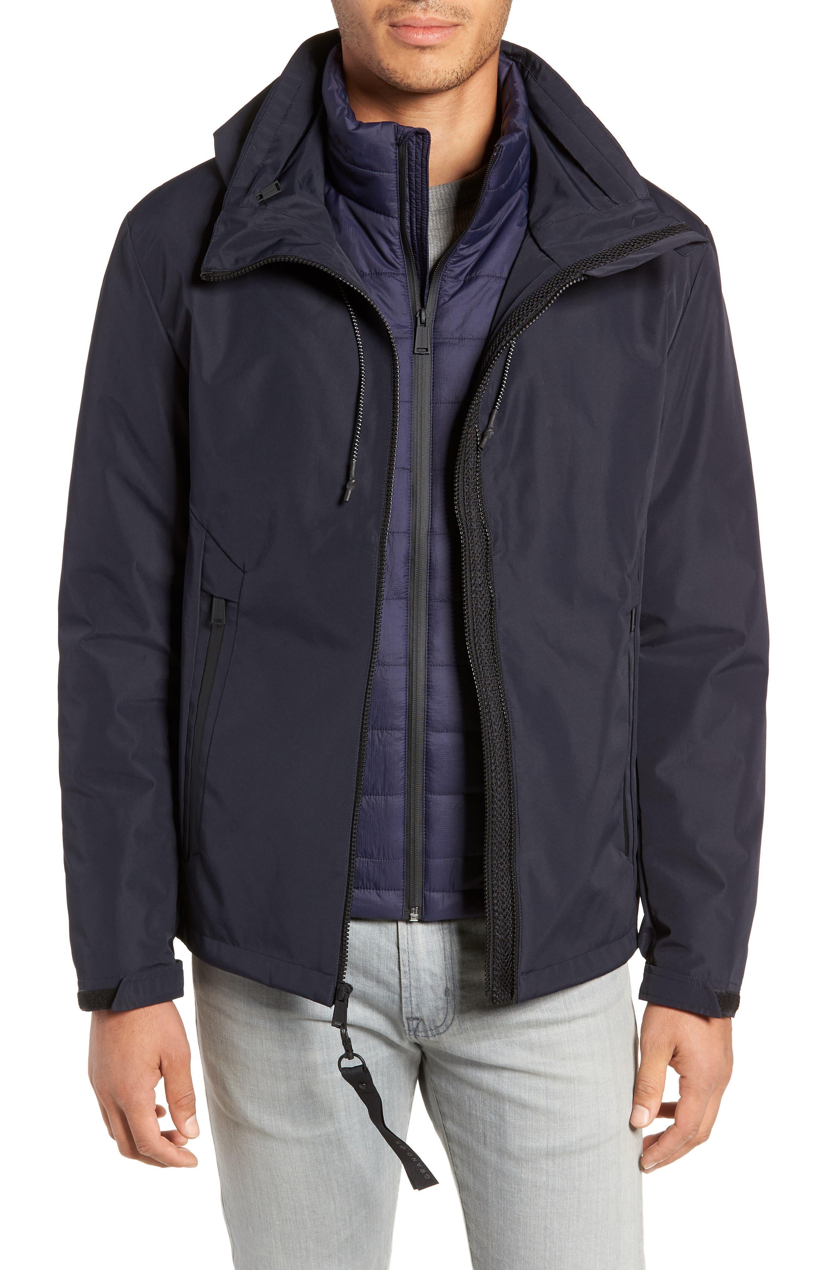Cole Haan 3-In-1 Rain Jacket, Blue