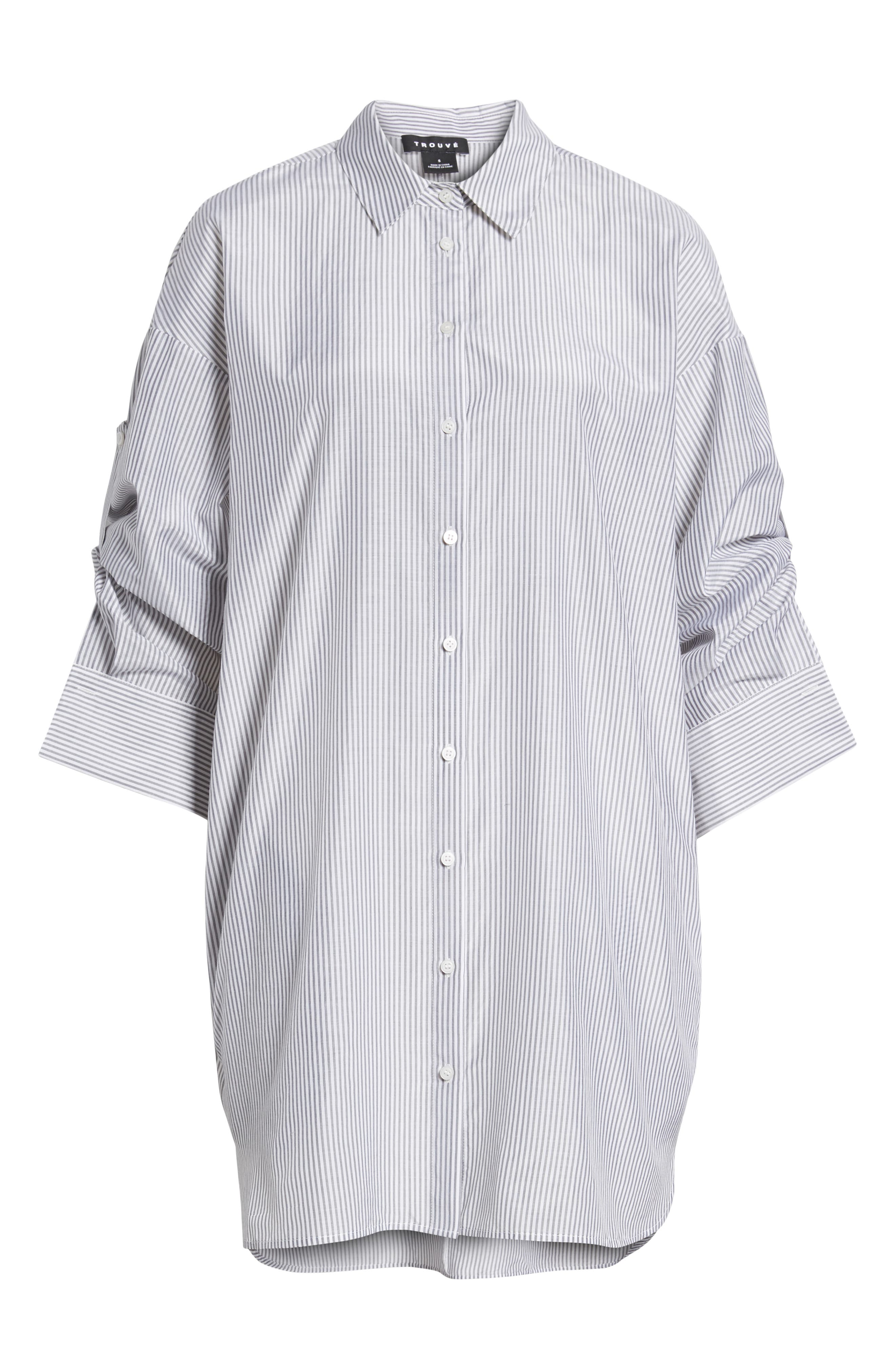 Stripe Cotton & Silk Shirtdress,                             Alternate thumbnail 7, color,                             020