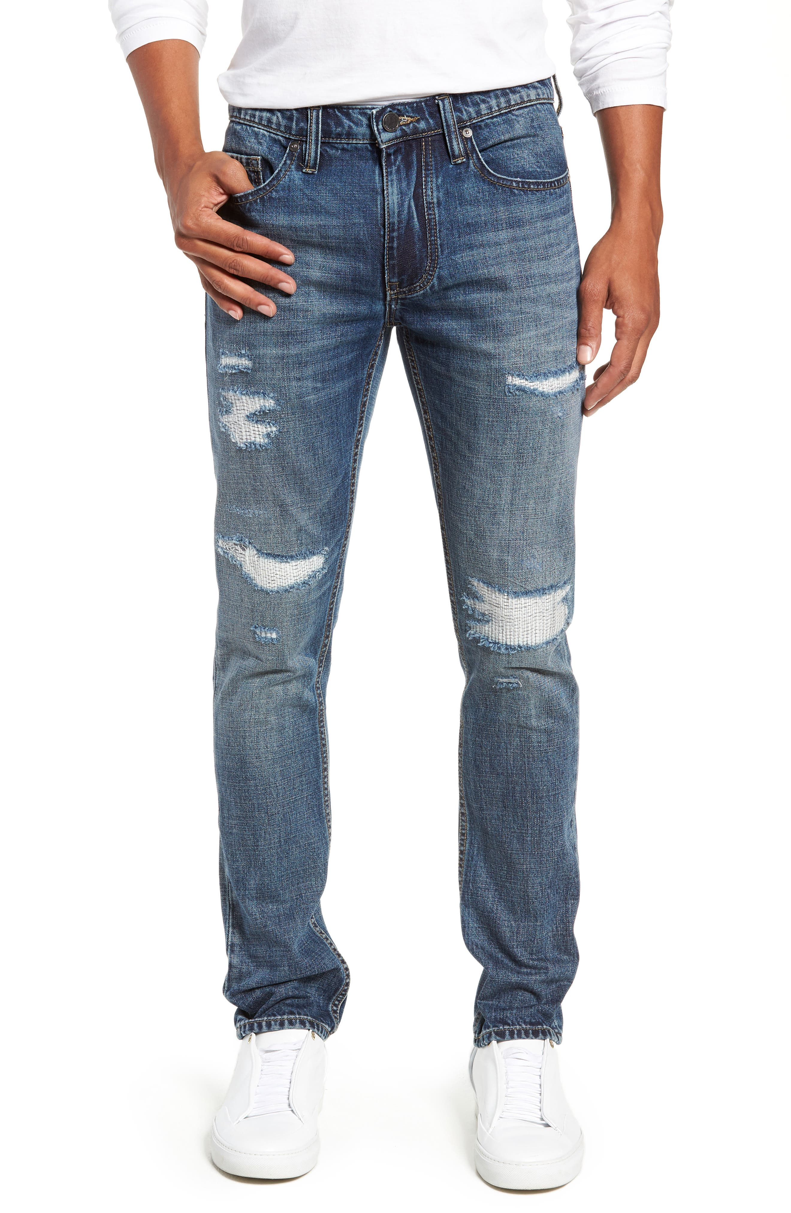 Wooster Slim Fit Distressed Selvedge Jeans,                             Main thumbnail 1, color,                             PERMISSIBLE HOT