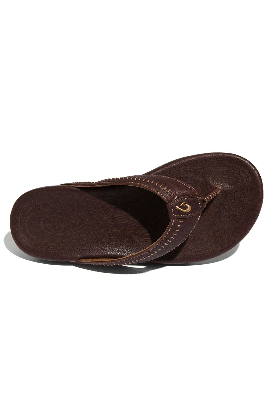 OLUKAI,                             'Hiapo' Flip Flop,                             Alternate thumbnail 4, color,                             TEAK/ TEAK