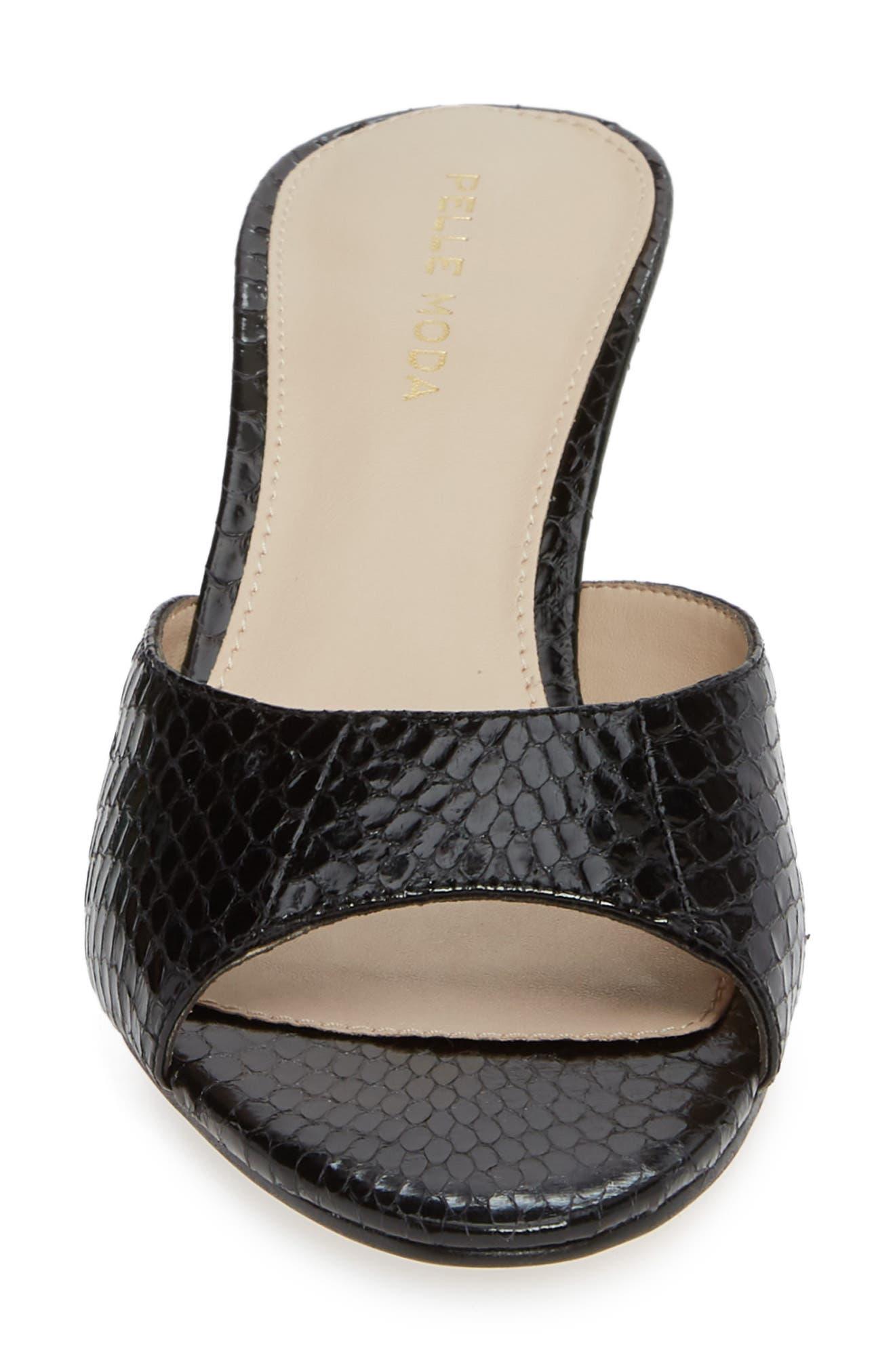 Bex Kitten Heel Slide Sandal,                             Alternate thumbnail 4, color,                             BLACK PRINT LEATHER