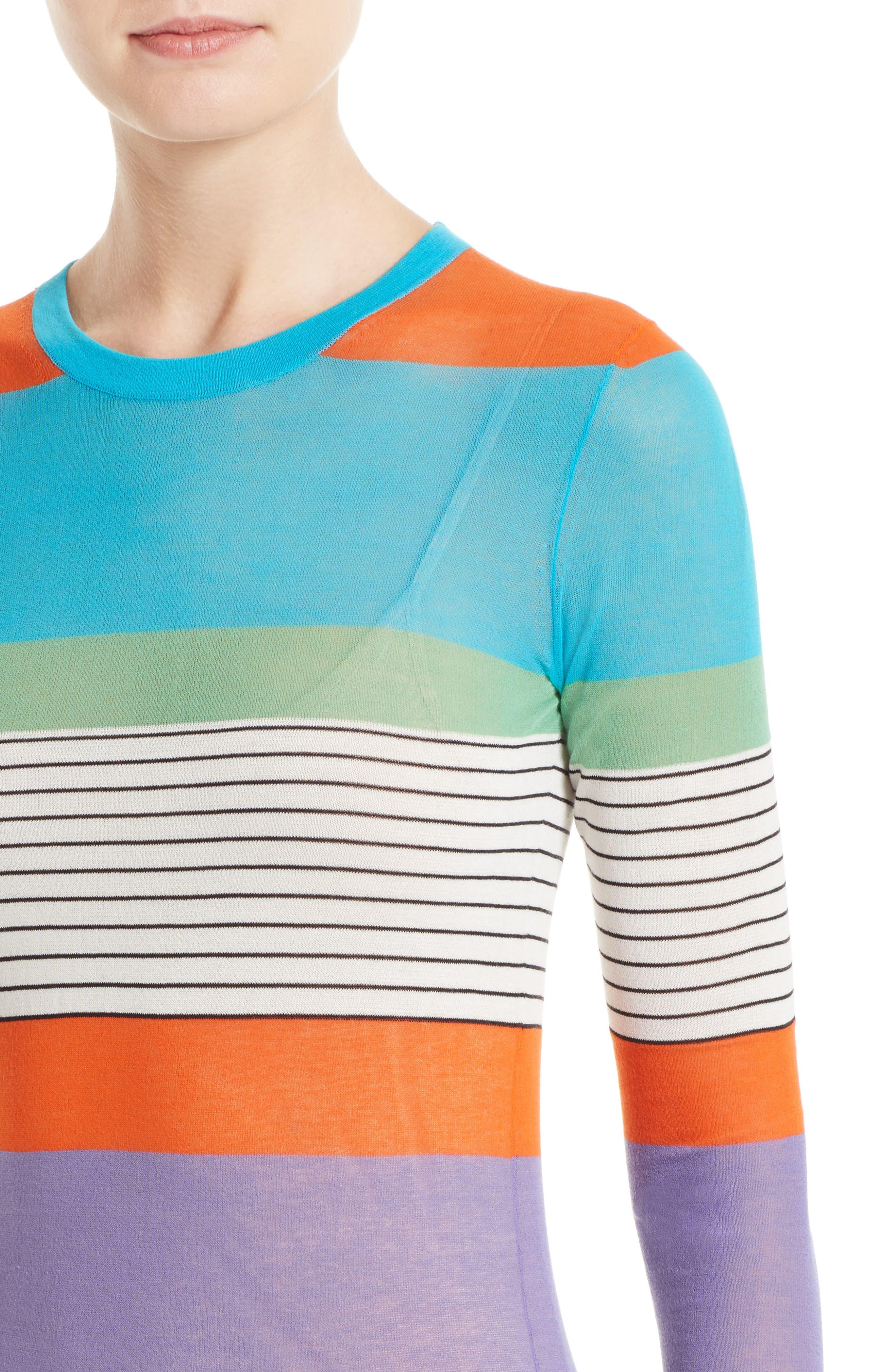 Colorblock Knit Midi Dress,                             Alternate thumbnail 4, color,                             441