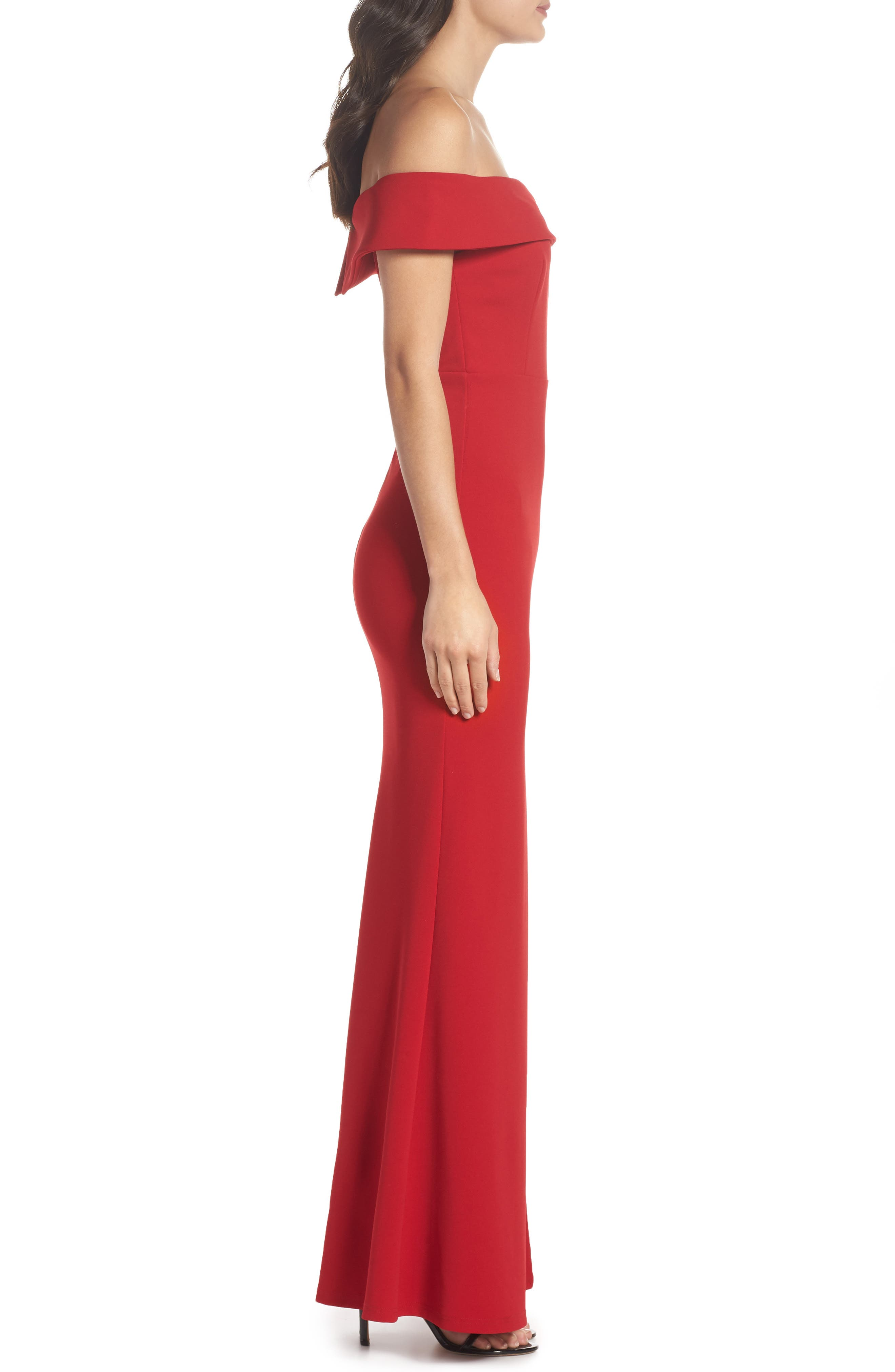 Off the Shoulder Mermaid Gown,                             Alternate thumbnail 3, color,                             RED