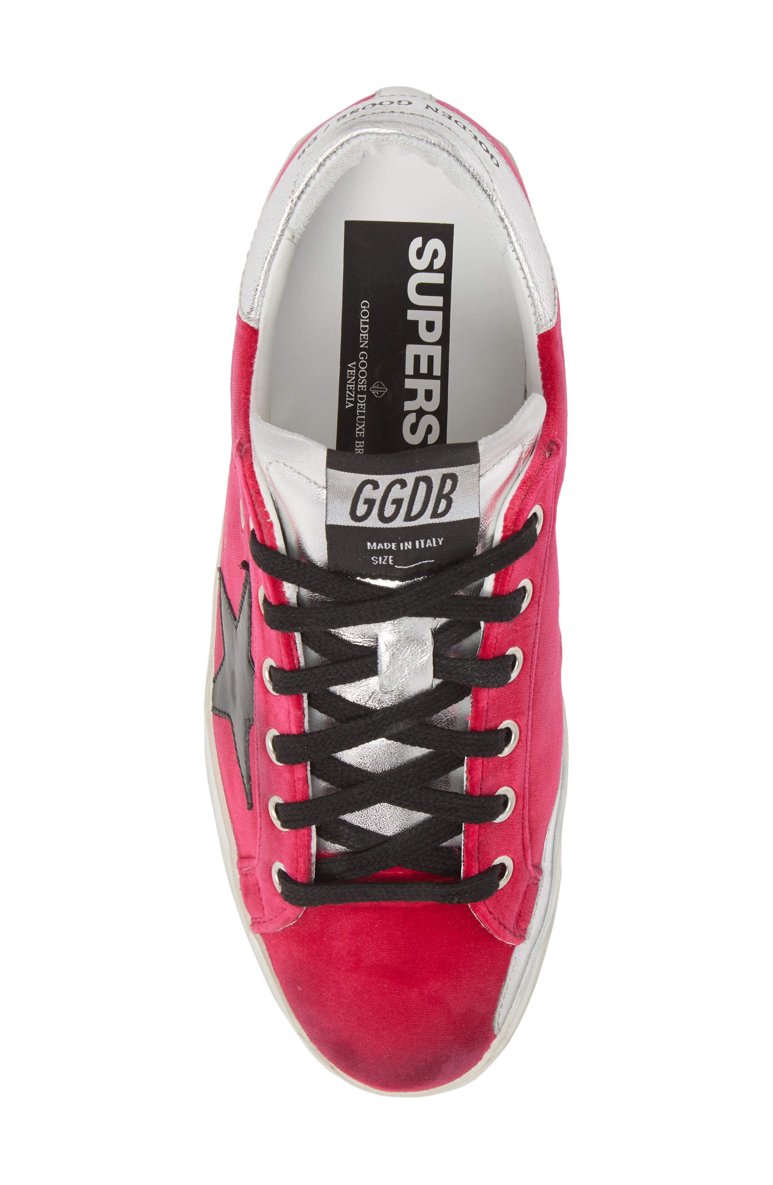 Superstar Low Top Sneaker,                             Alternate thumbnail 5, color,                             FUCHSIA/ BLACK