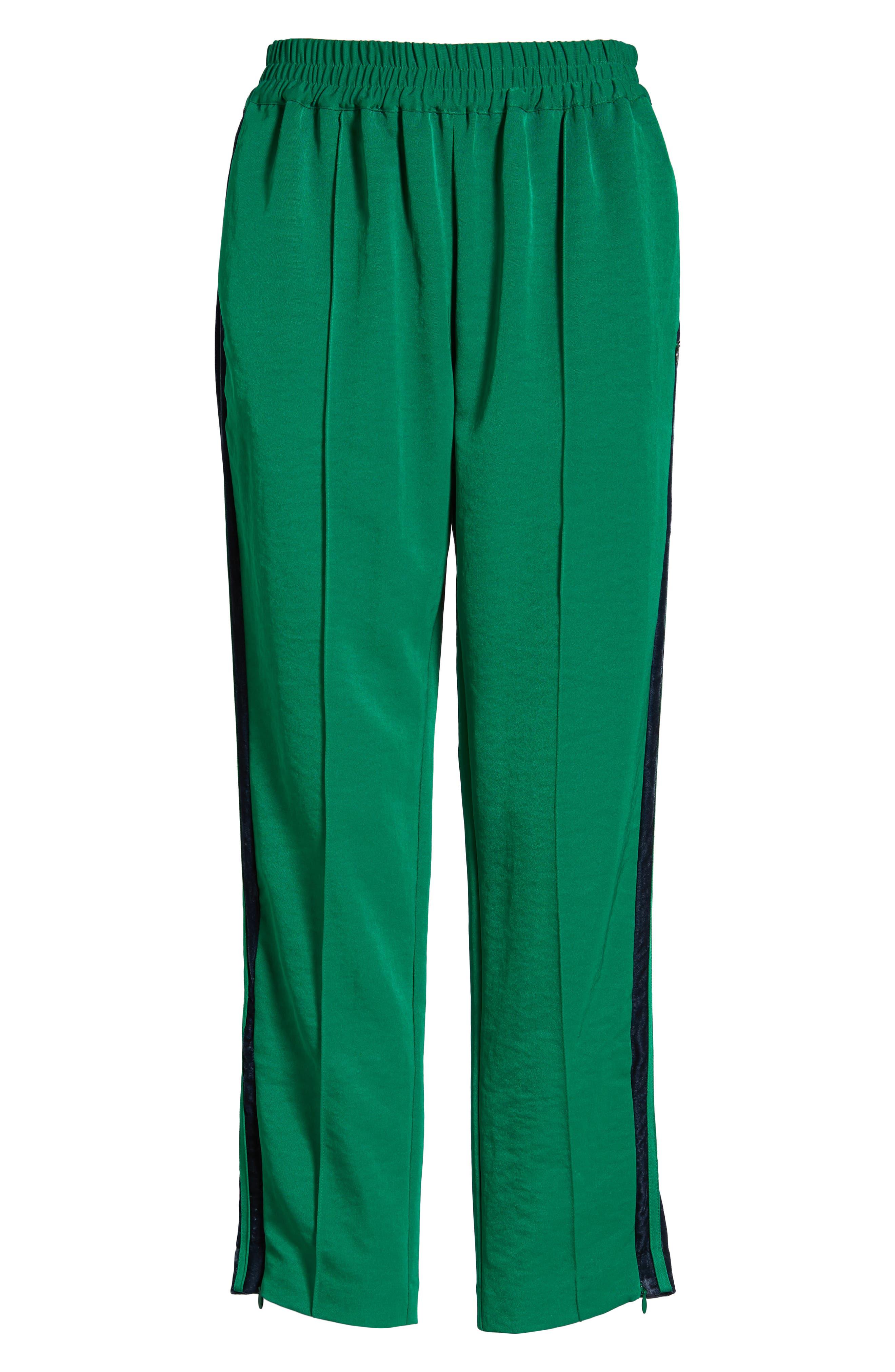 Velvet Stripe Satin Track Pants,                             Alternate thumbnail 6, color,                             310