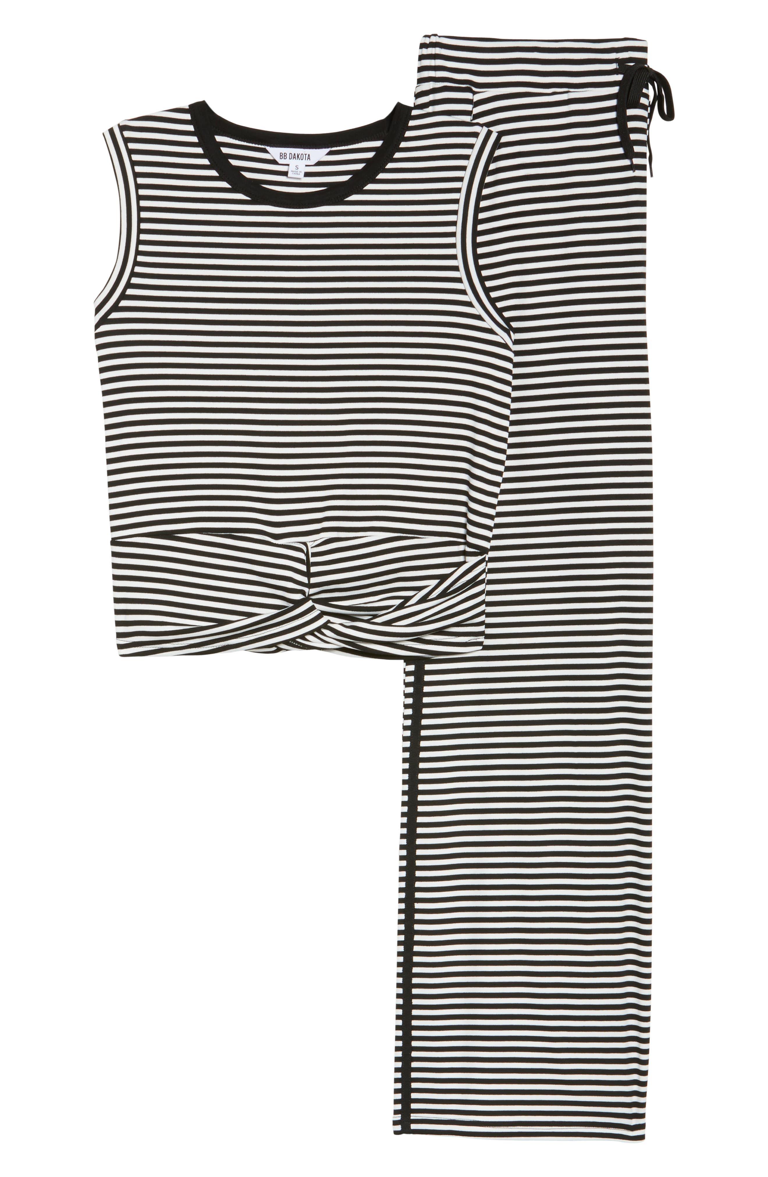 Stripe Pajamas,                             Alternate thumbnail 6, color,                             BLACK/ WHITE