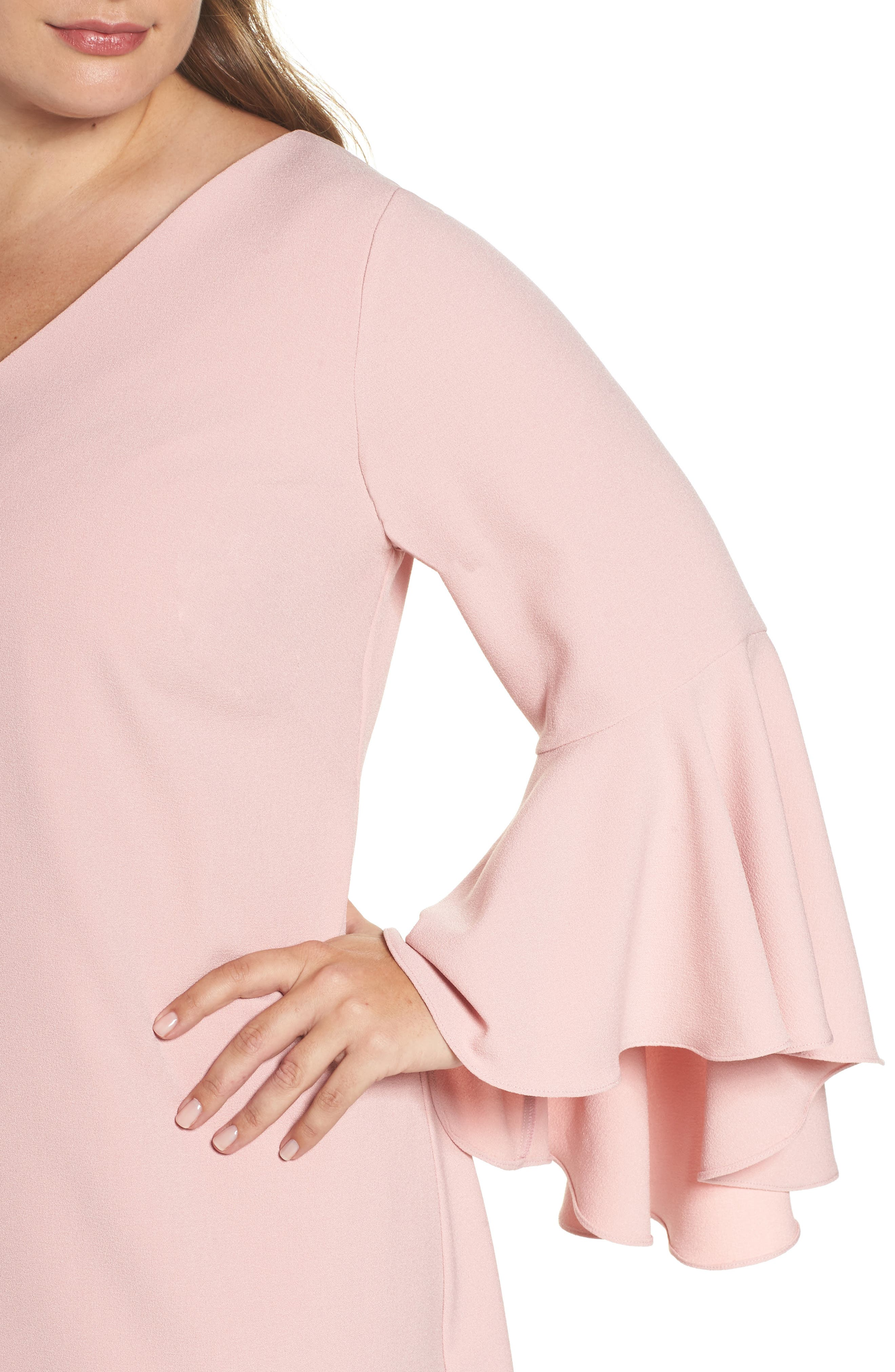 Bell Sleeve Crepe Shift Dress,                             Alternate thumbnail 8, color,