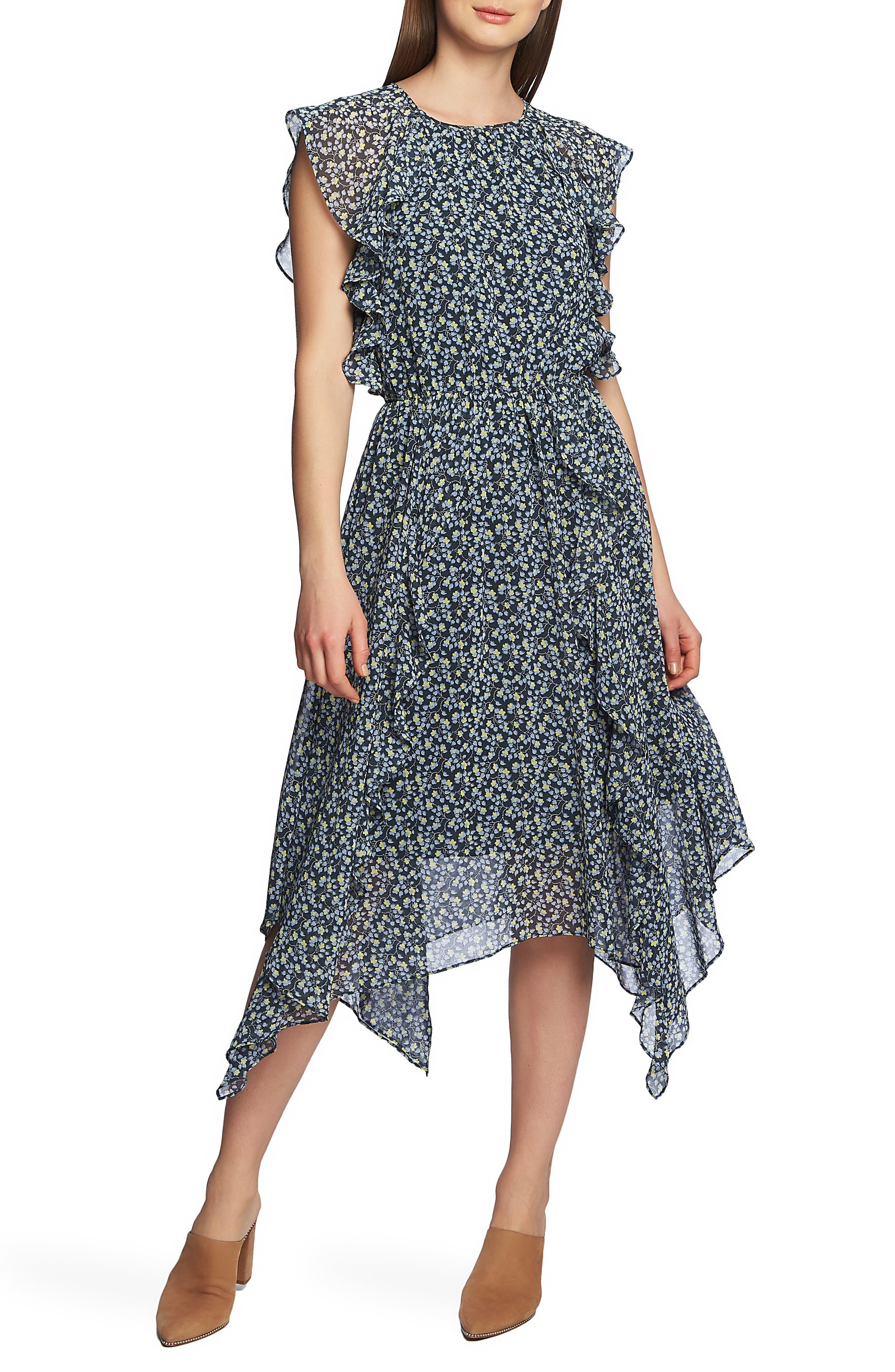 1.state Cascading Calico Ruffle Dress, Blue