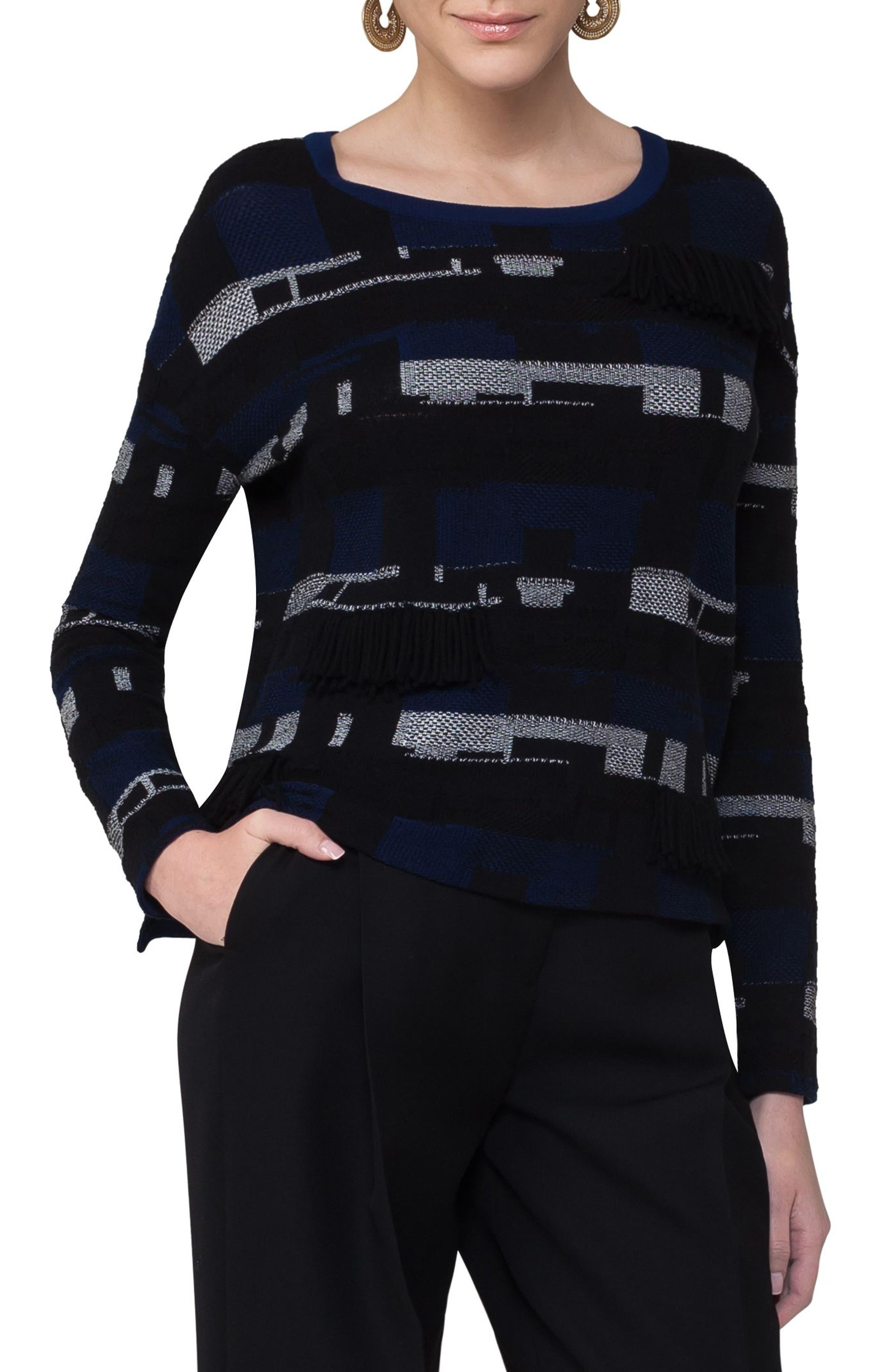 Fringe Jacquard Cotton Blend Pullover,                             Main thumbnail 1, color,                             400