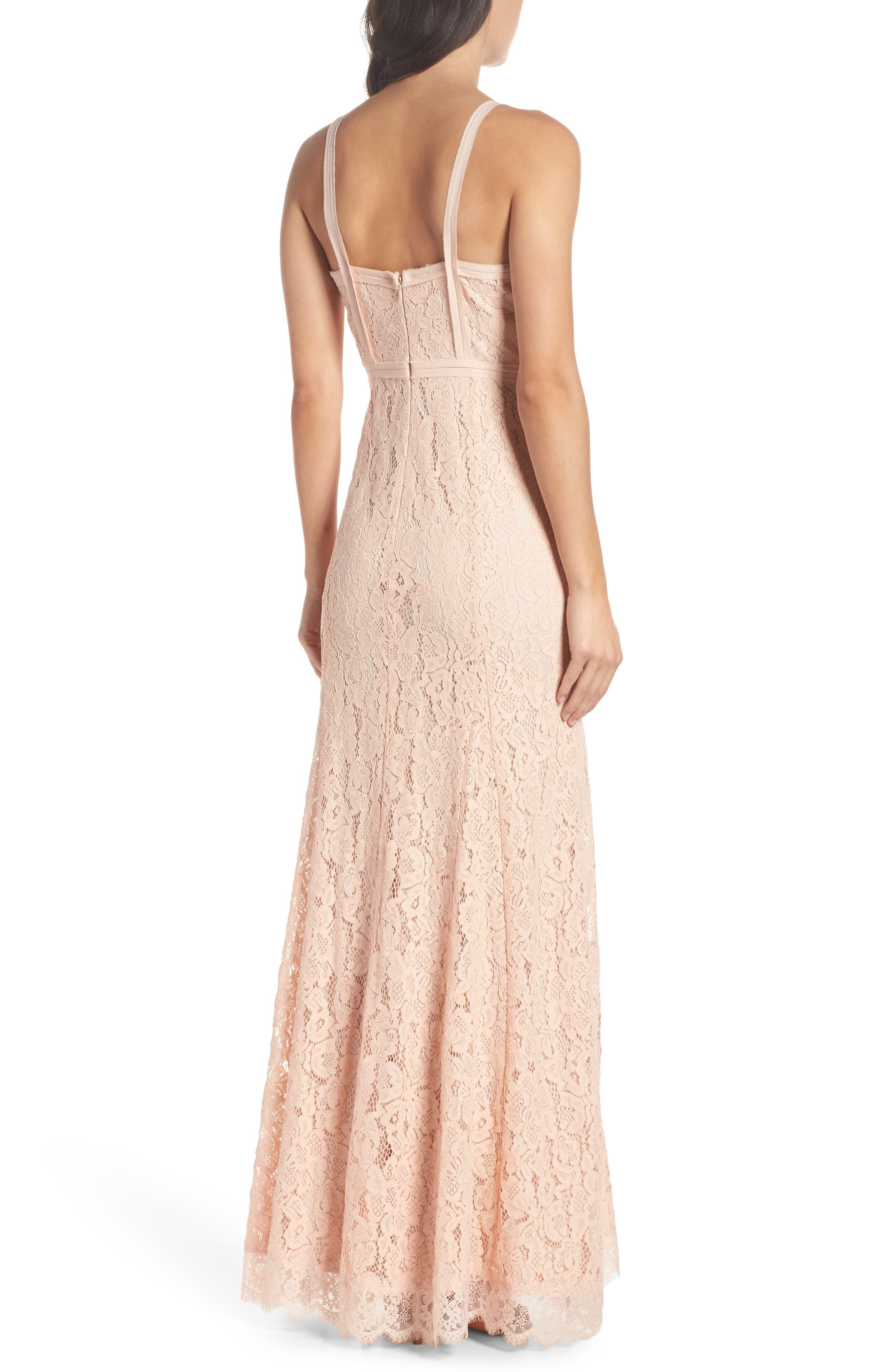 Esti Bustier Bodice Lace Gown,                             Alternate thumbnail 2, color,                             BLUSH