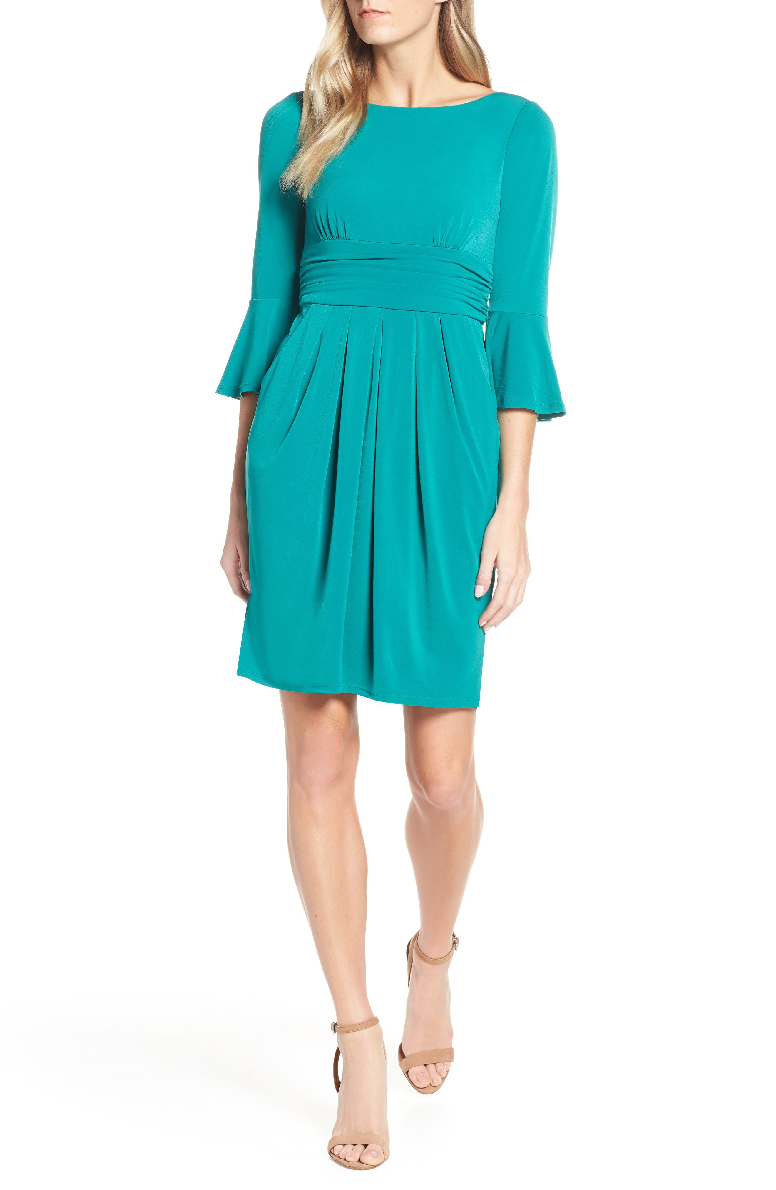 Eliza J Bell Sleeve Knit Sheath Dress, 8 (similar to 1) - Green