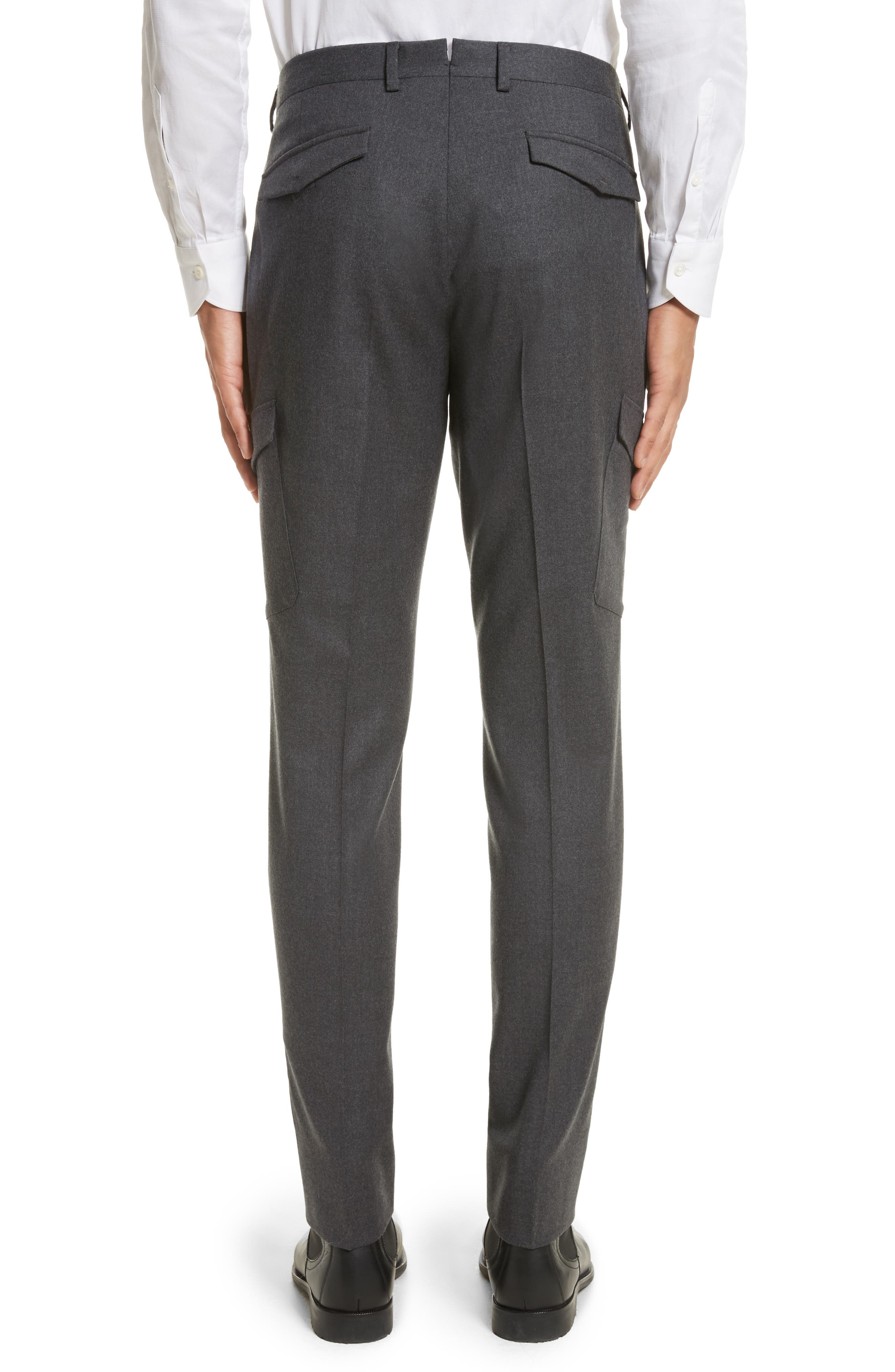 Regular Fit Wool Cargo Trousers,                             Alternate thumbnail 3, color,