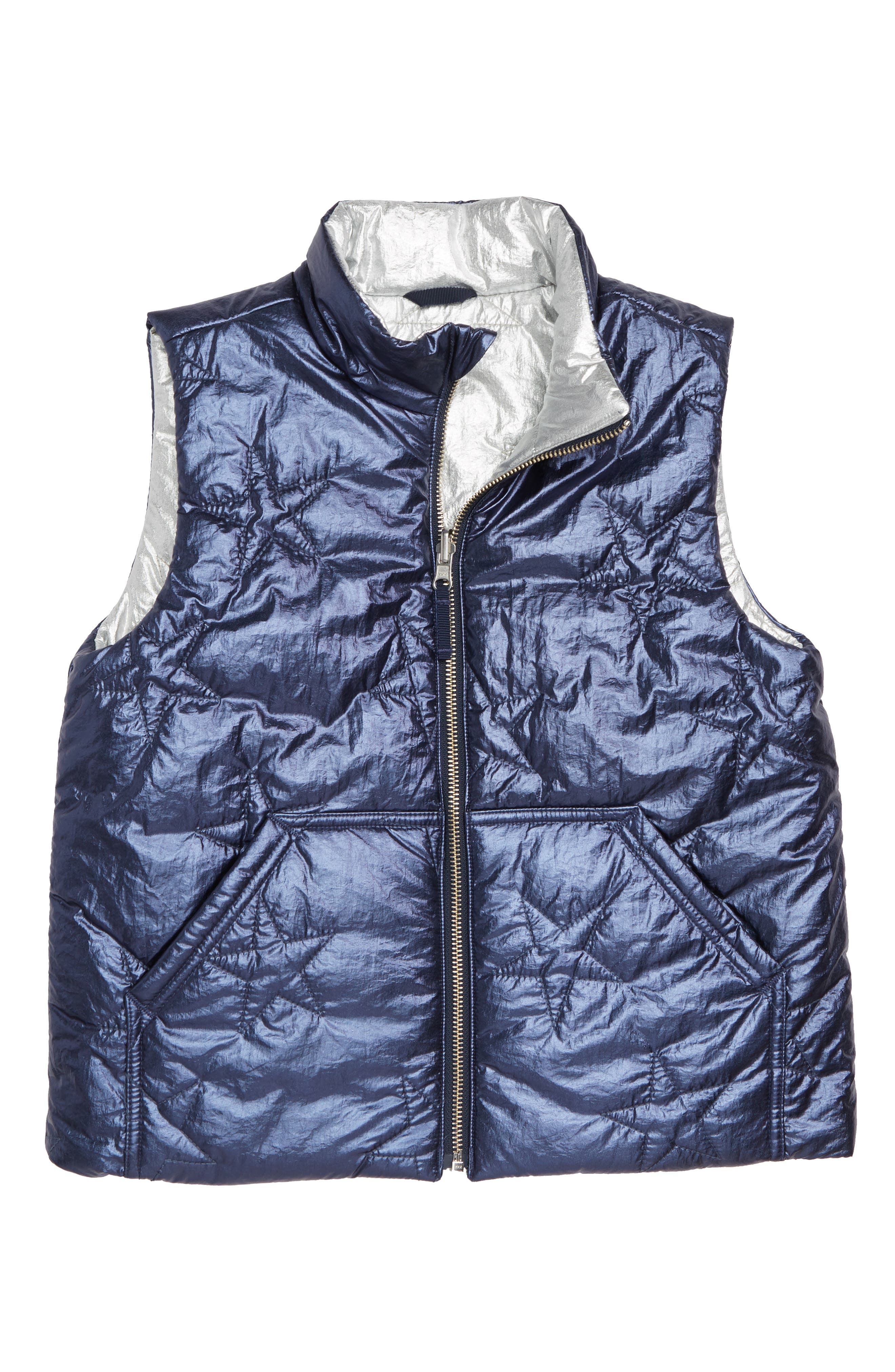 Metallic Reversible Puffer Vest,                             Main thumbnail 1, color,                             040
