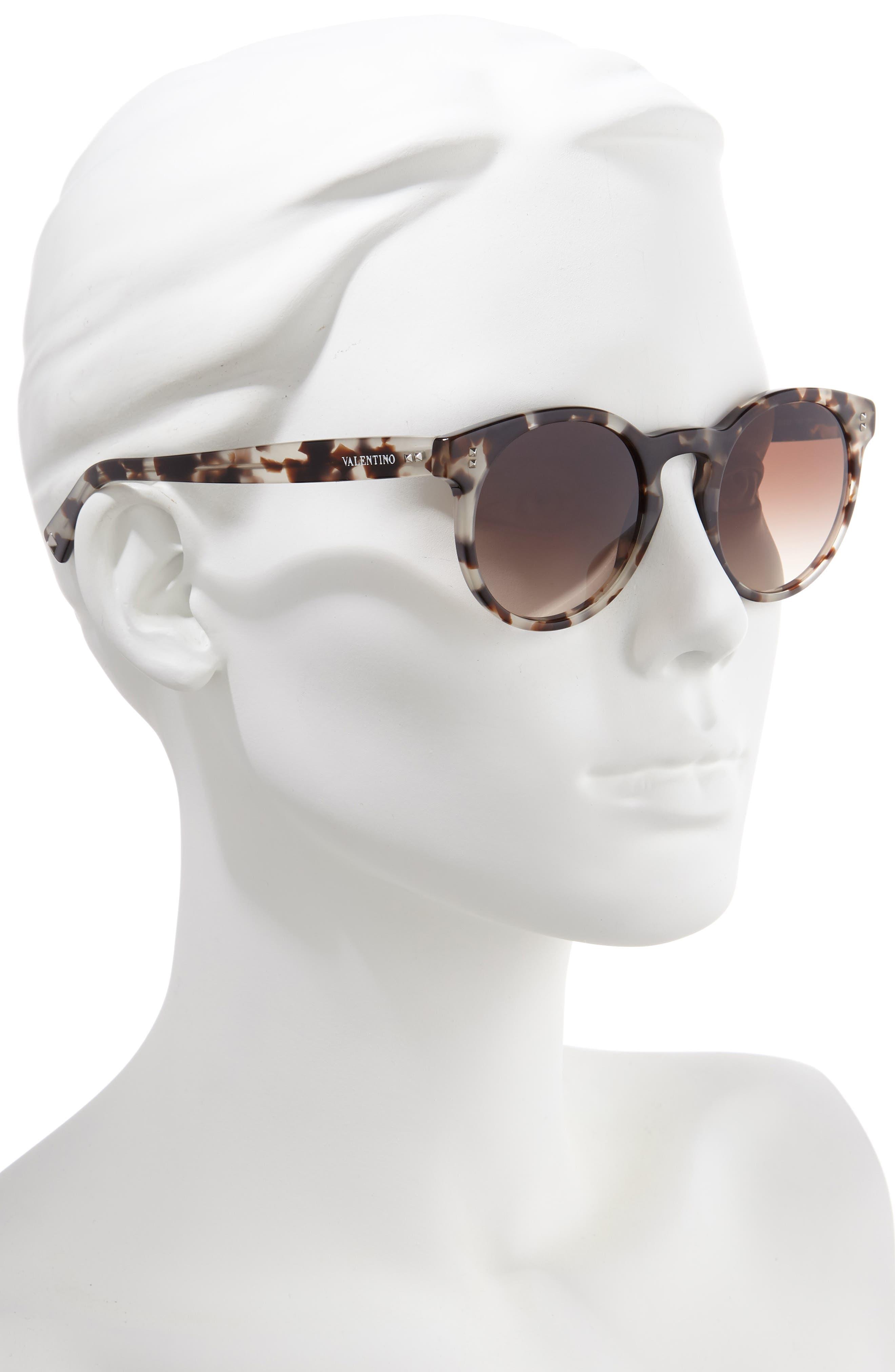 50mm Retro Sunglasses,                             Alternate thumbnail 2, color,                             BEIGE TORTOISE/ BROWN GRADIENT
