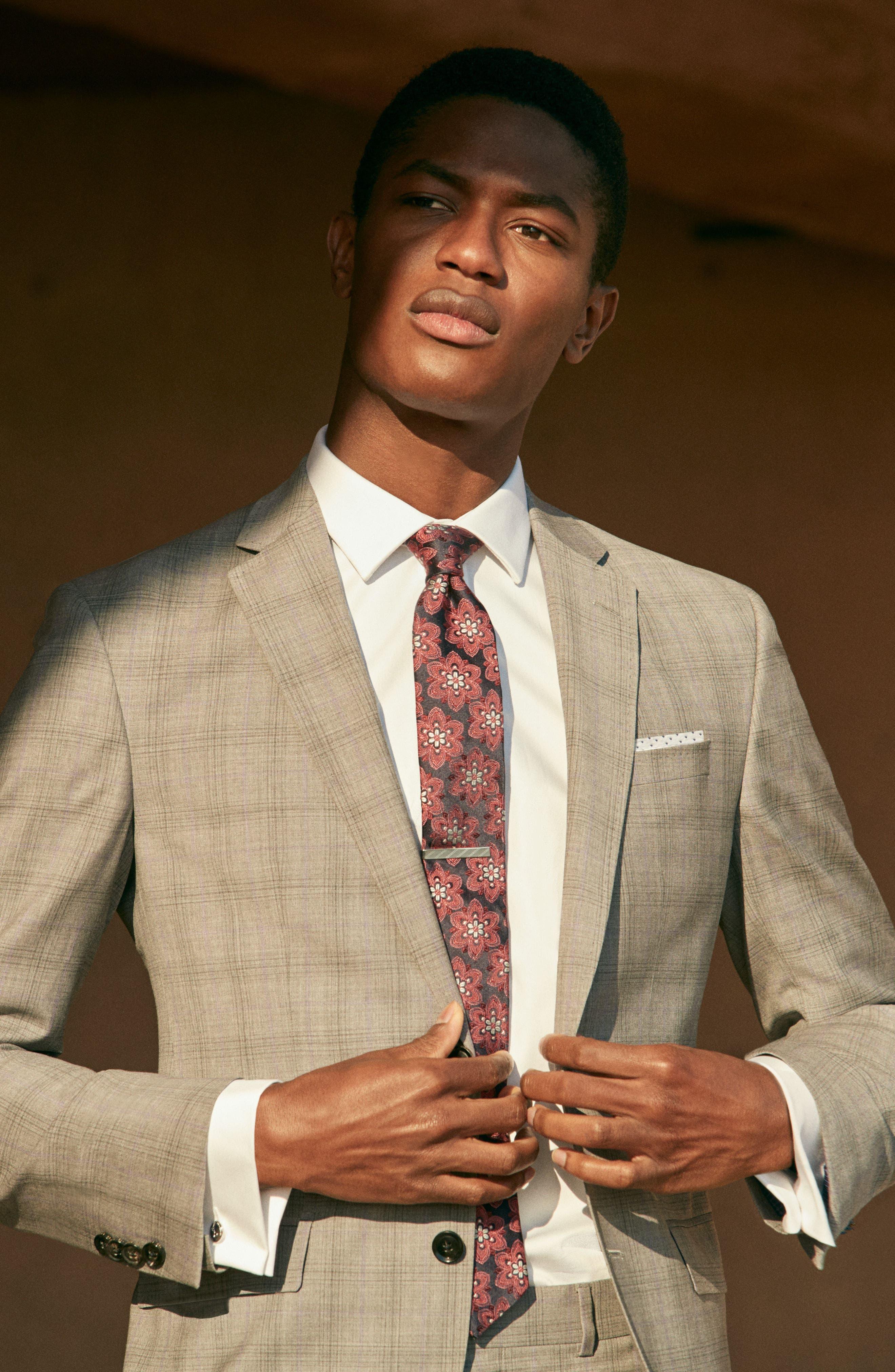 Jay Trim Fit Plaid Wool Suit,                             Alternate thumbnail 10, color,                             050