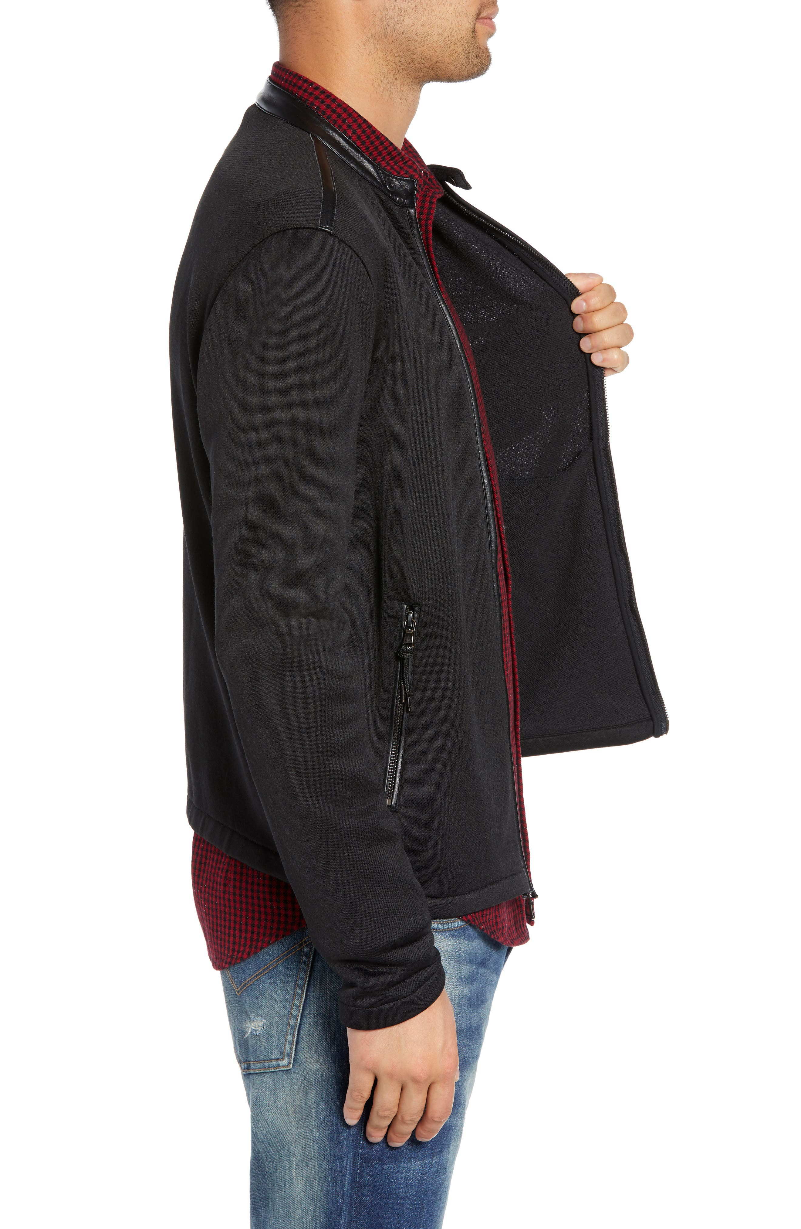 French Terry Zip Front Jacket,                             Alternate thumbnail 3, color,                             BLACK