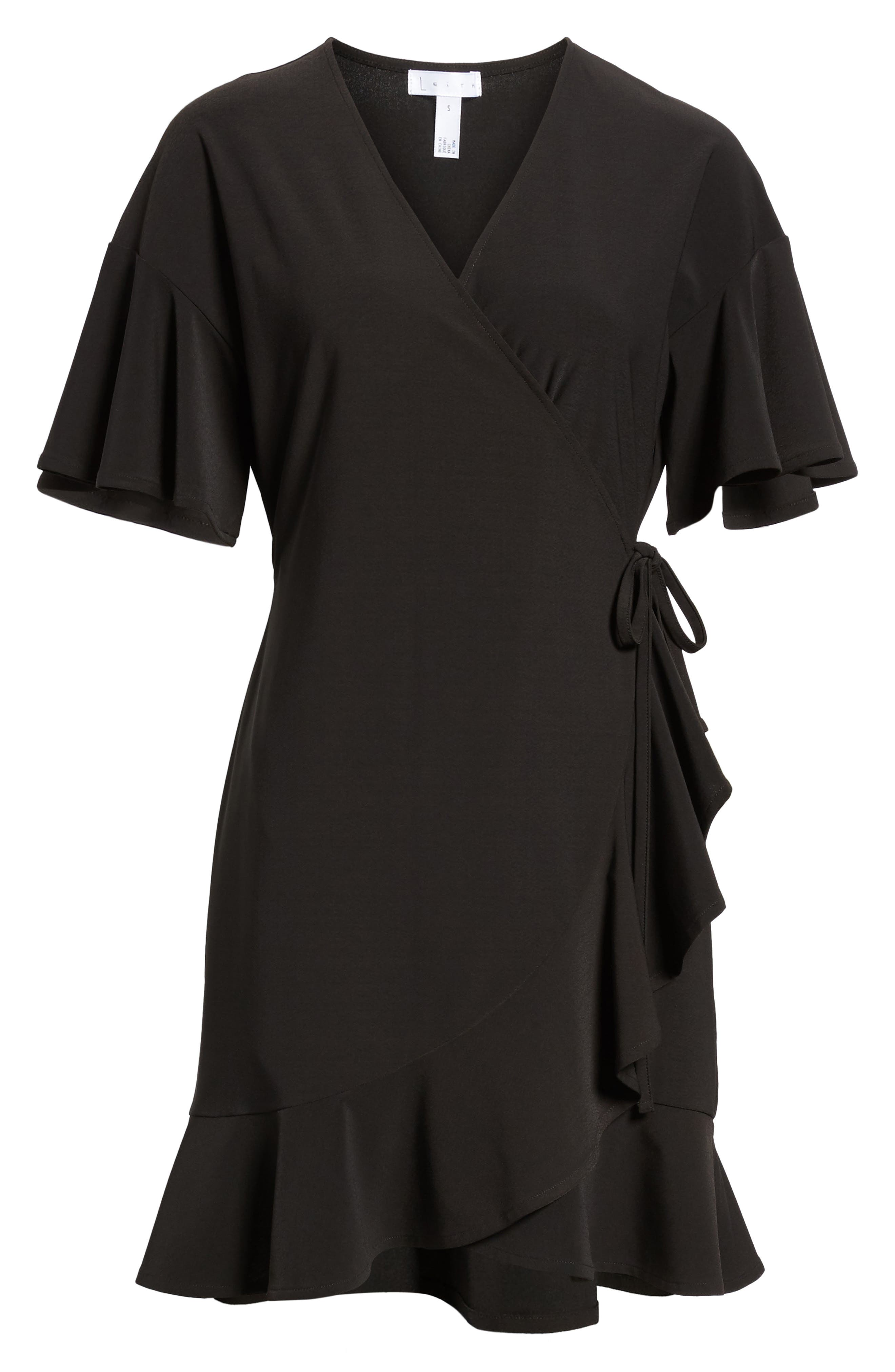 Flounce Sleeve Wrap Dress,                             Alternate thumbnail 6, color,                             001